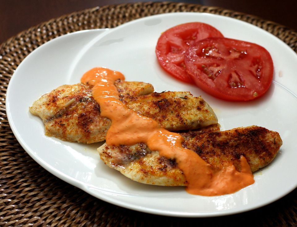 Baked Tilapia With Roasted Red Pepper Mayonnaise