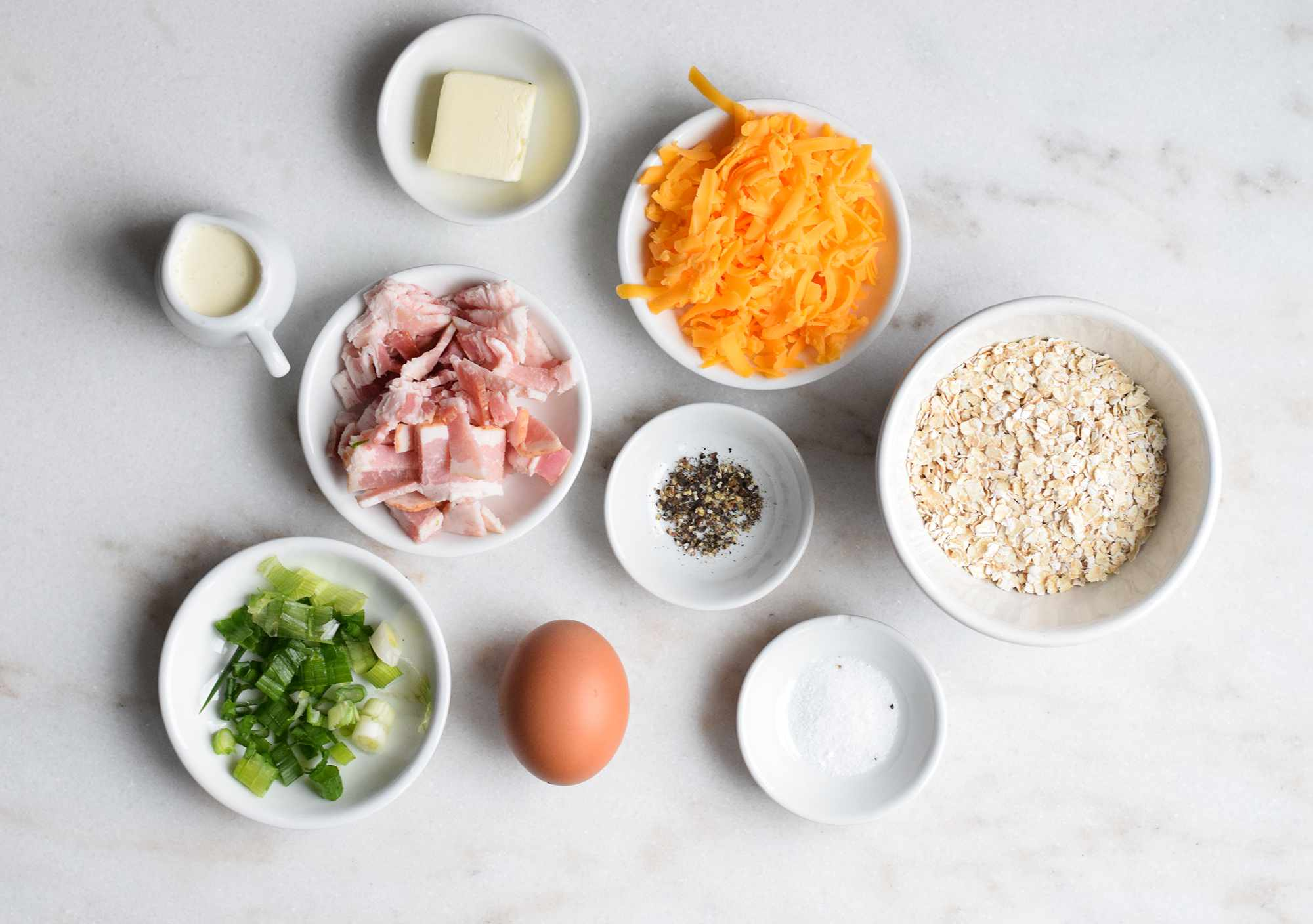 Ingredients for savory oatmeal