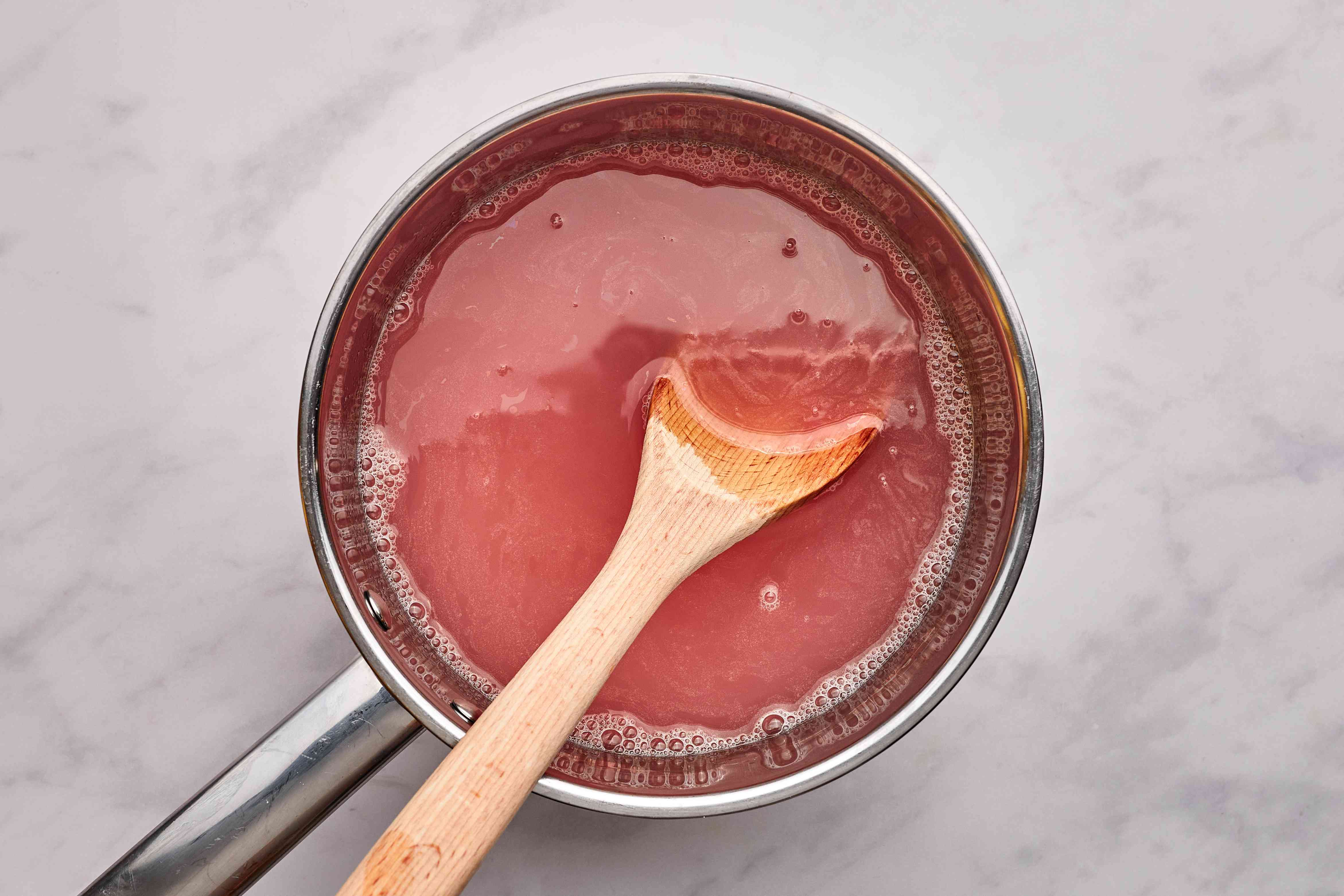 champagne added to rhubarb mixture