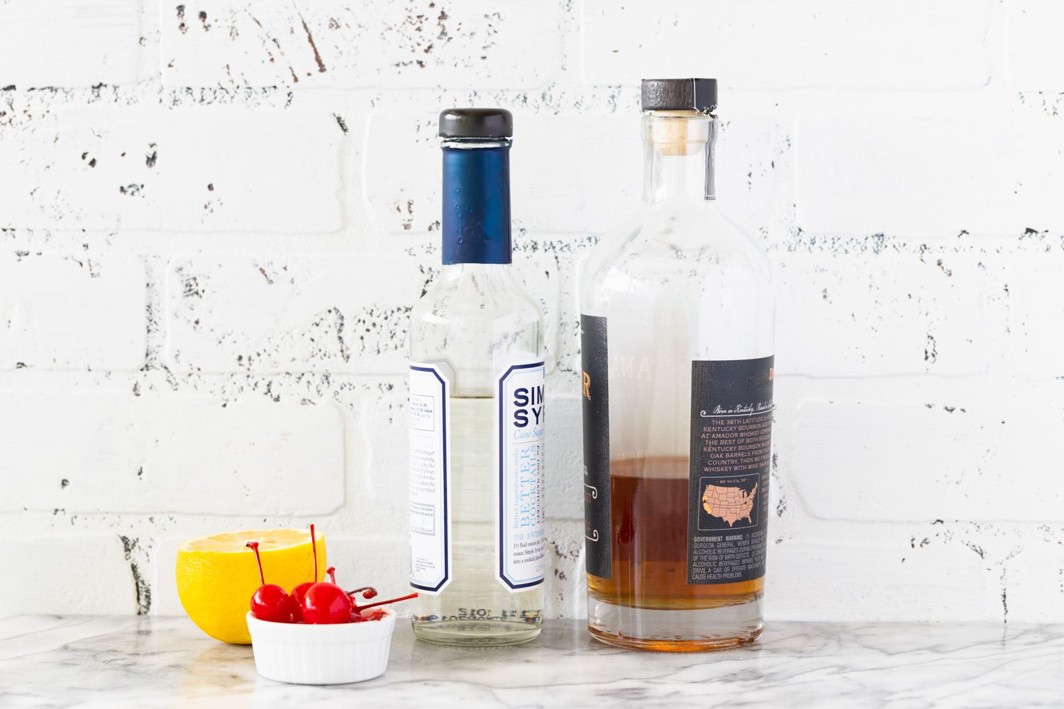 Ingredients for making a whiskey sour