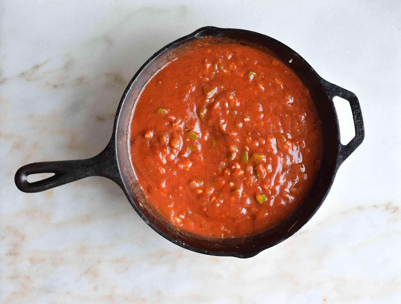 sloppy joe sauce in a cast iron skillet