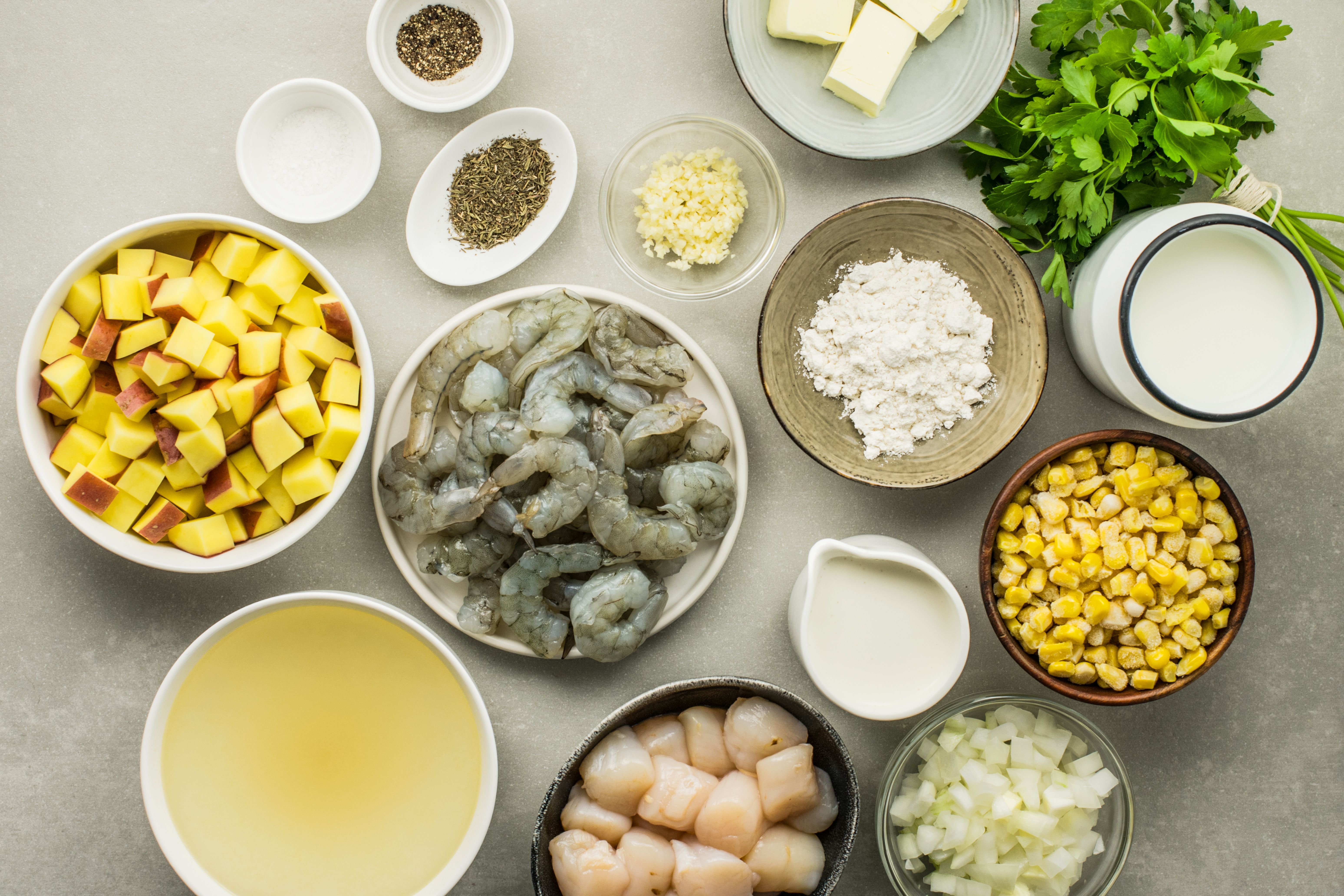 Ingredients for creamy corn and seafood chowder