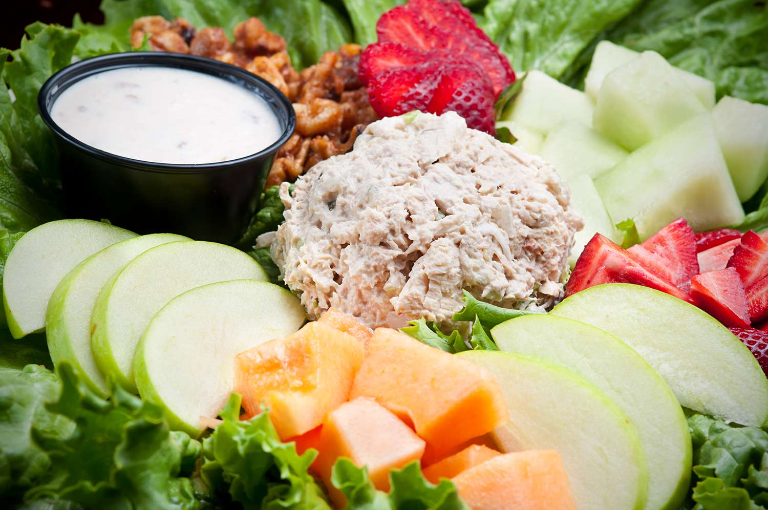 Chicken Salad with fresh fruit on a bed of lettuce
