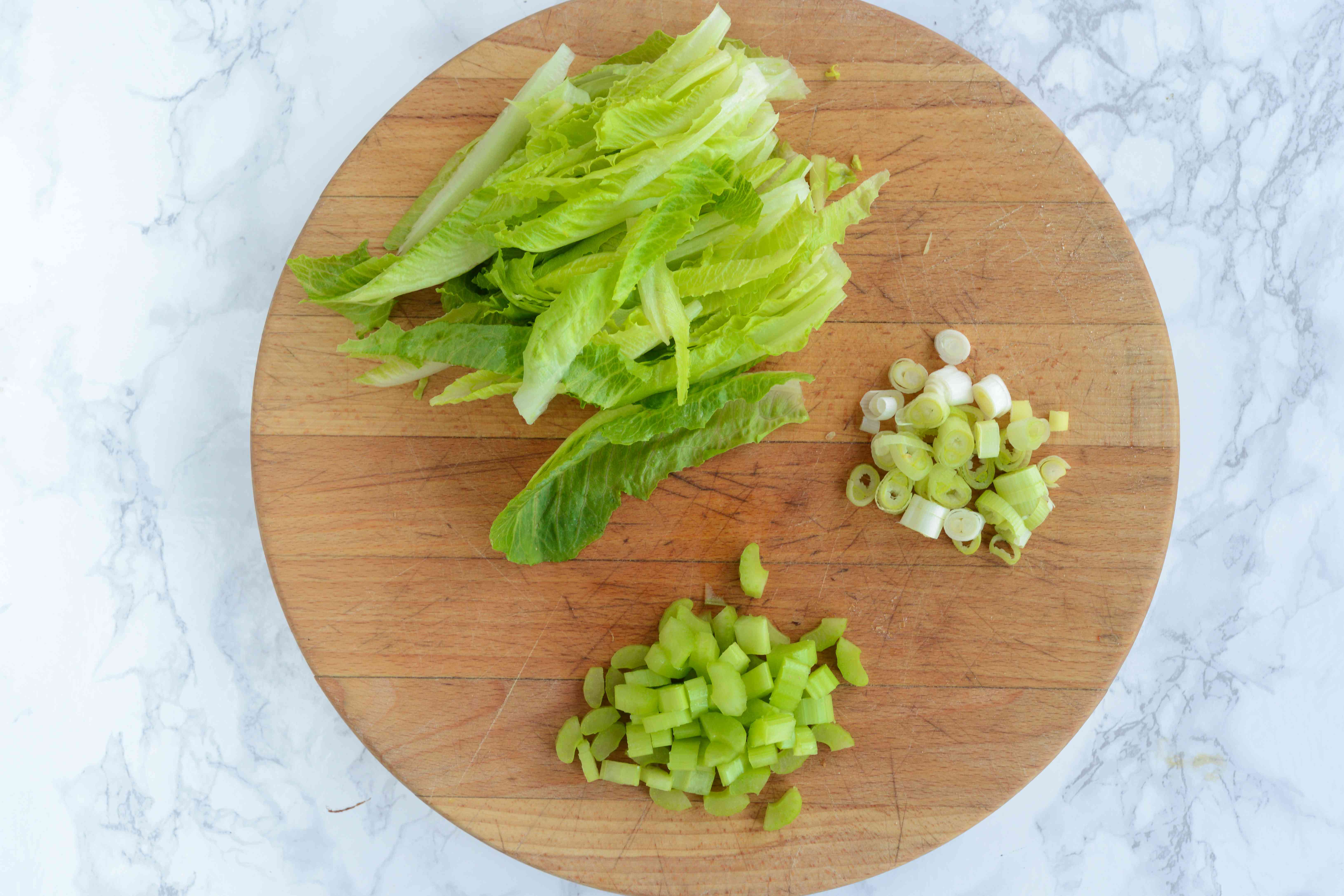 Chopped ingredients for apple walnut salad