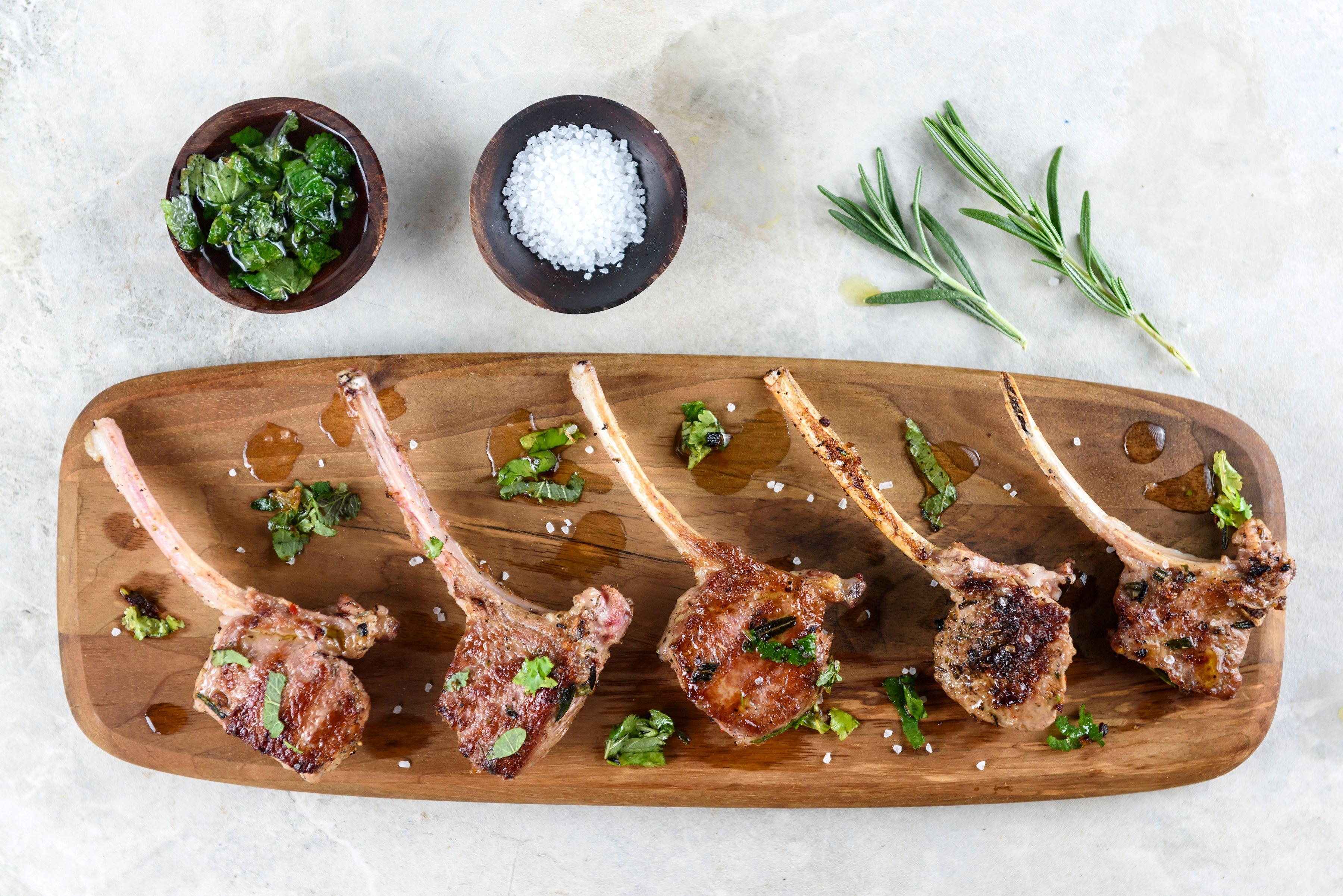 Fresh herbs with lamb chops