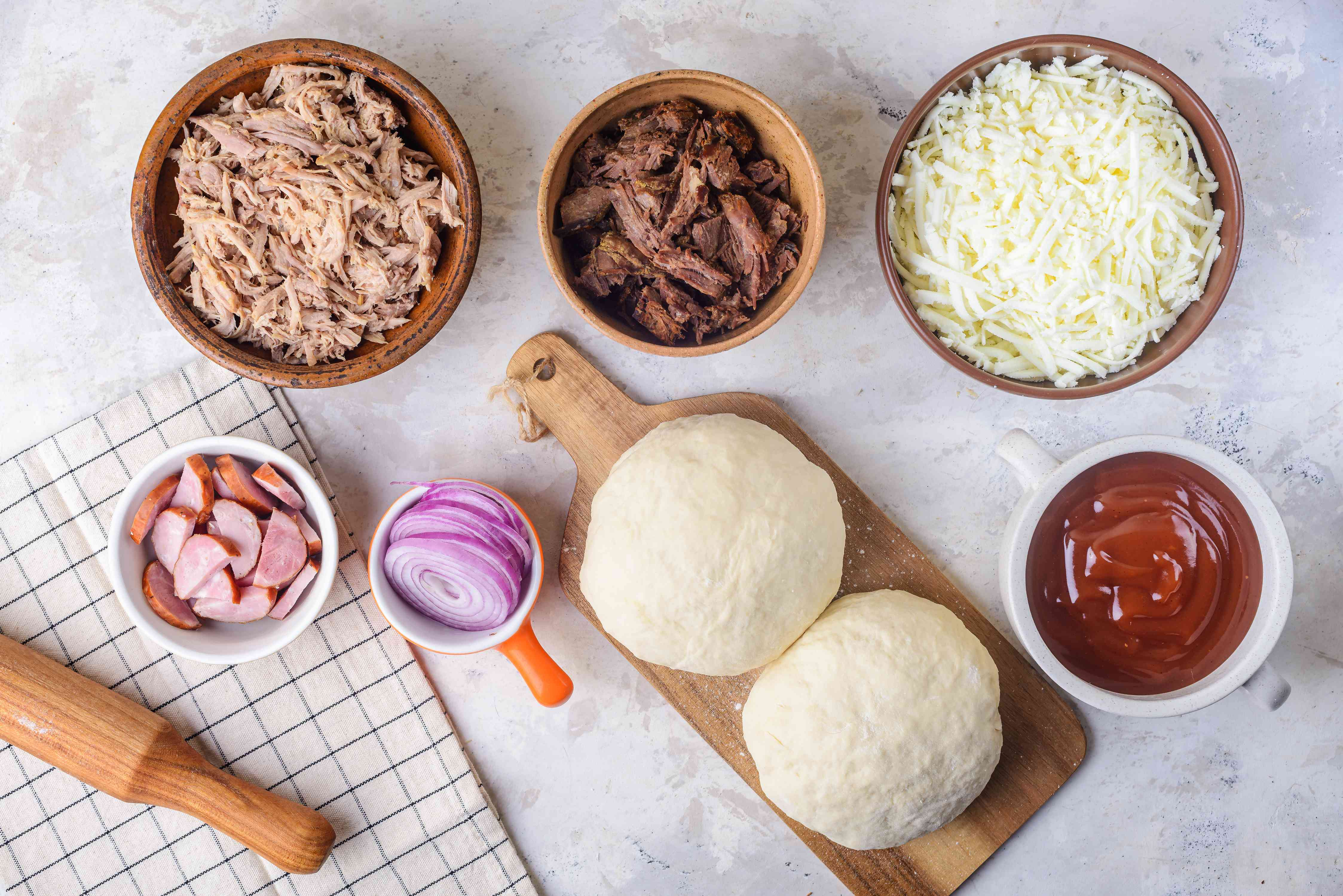 Ingredients for double crust barbecue pizza