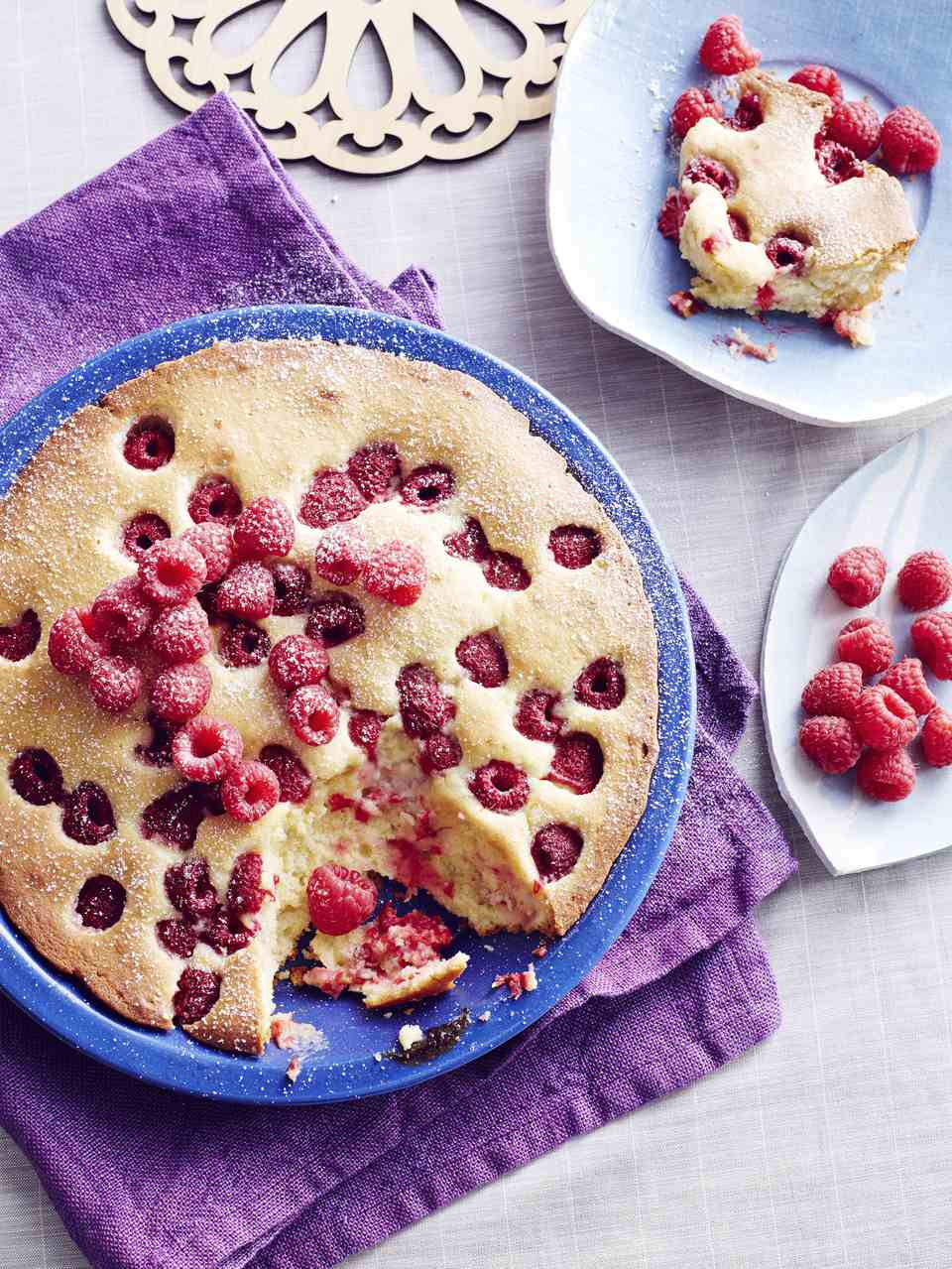 Still life of Czech Raspberry bublanina cake