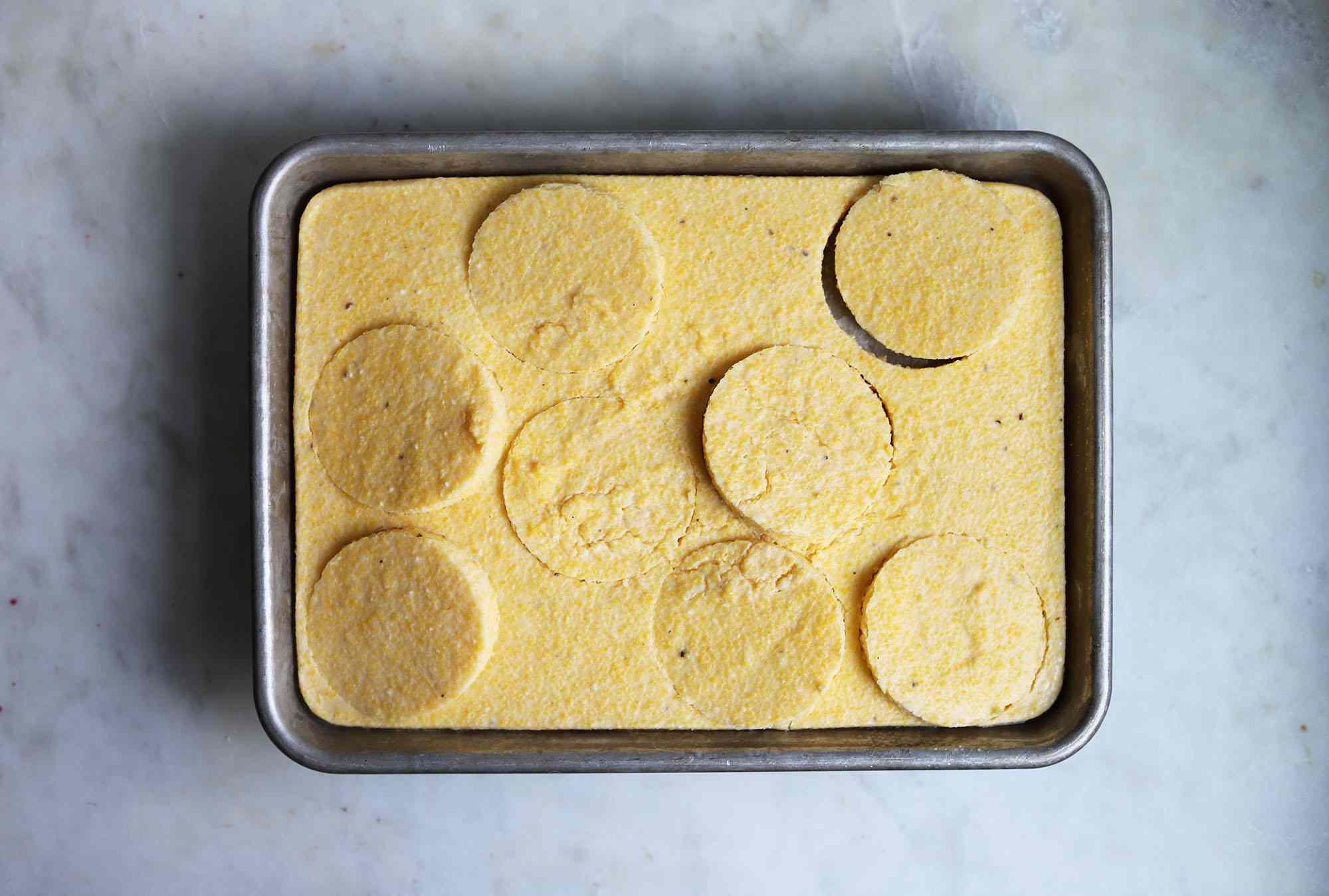polenta cakes cut from a sheet pan