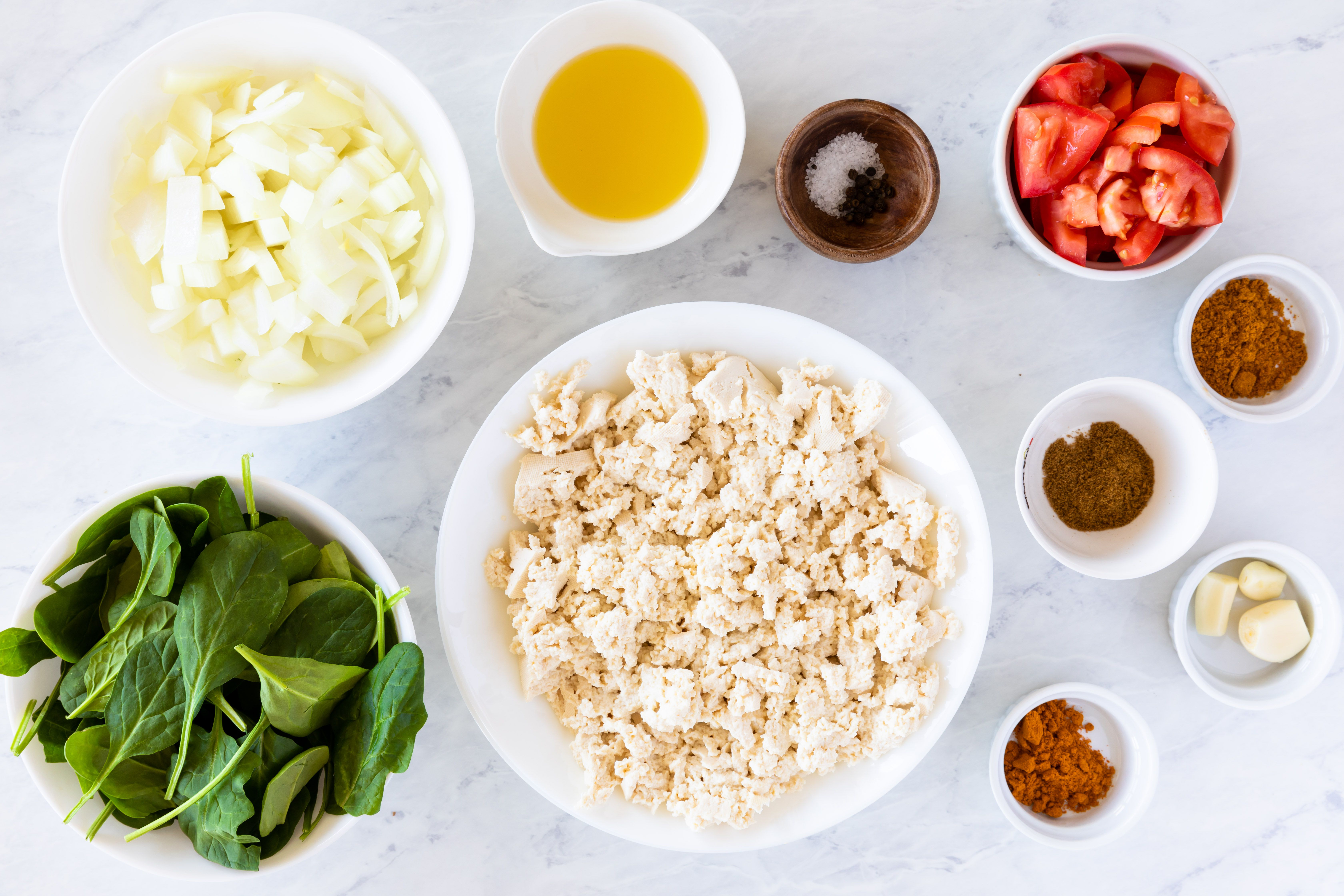 Ingredients for vegan tofu scramble
