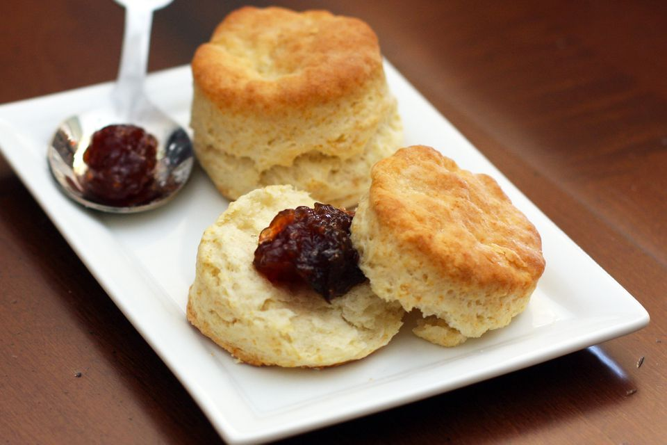Sour cream biscuits with fig preserves