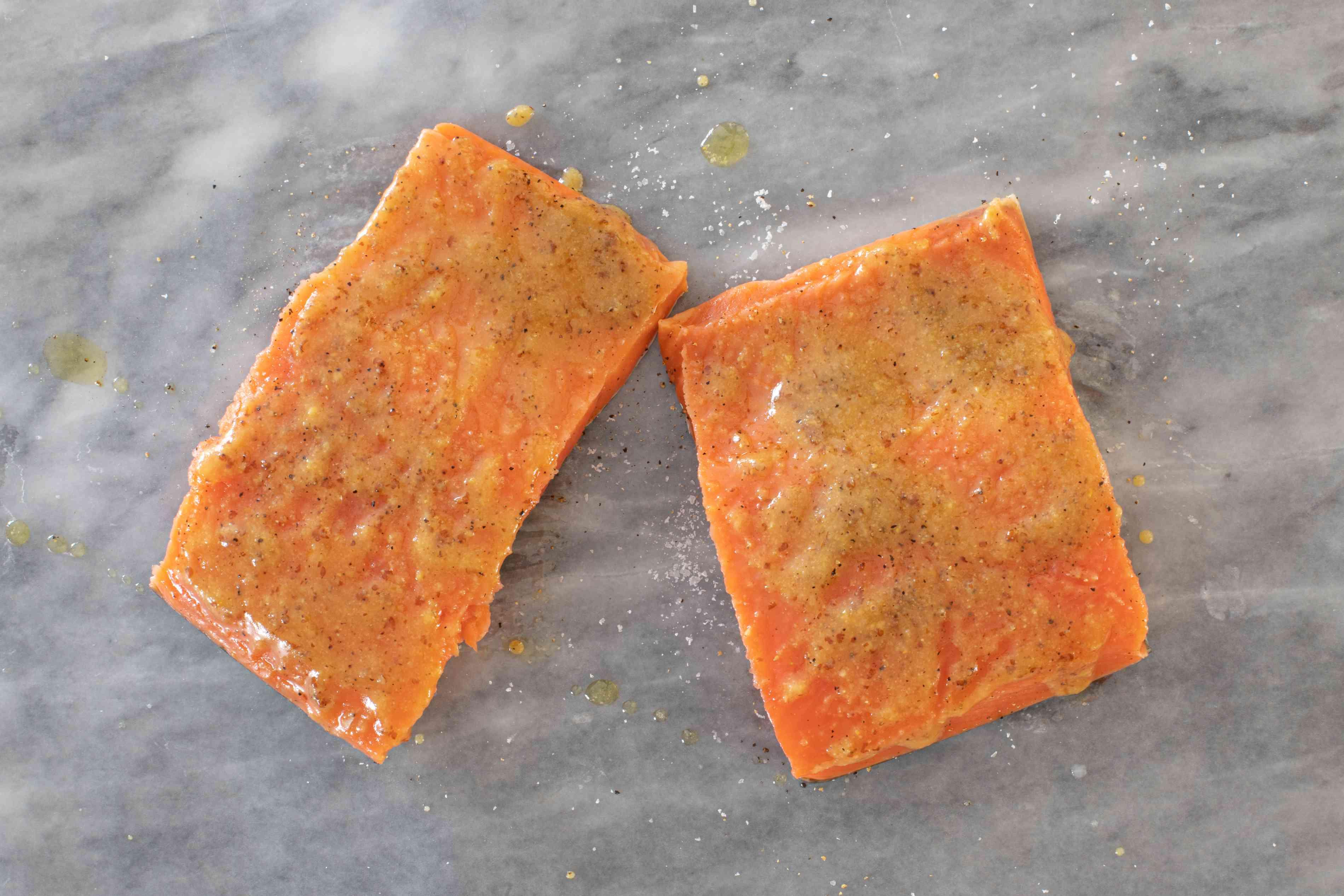 honey and mustard glaze on the salmon fillets