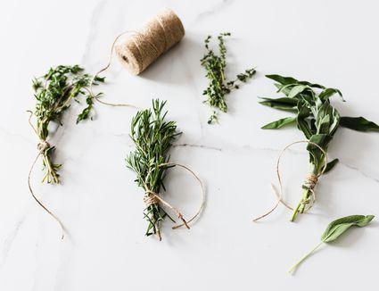 bundled fresh herbs