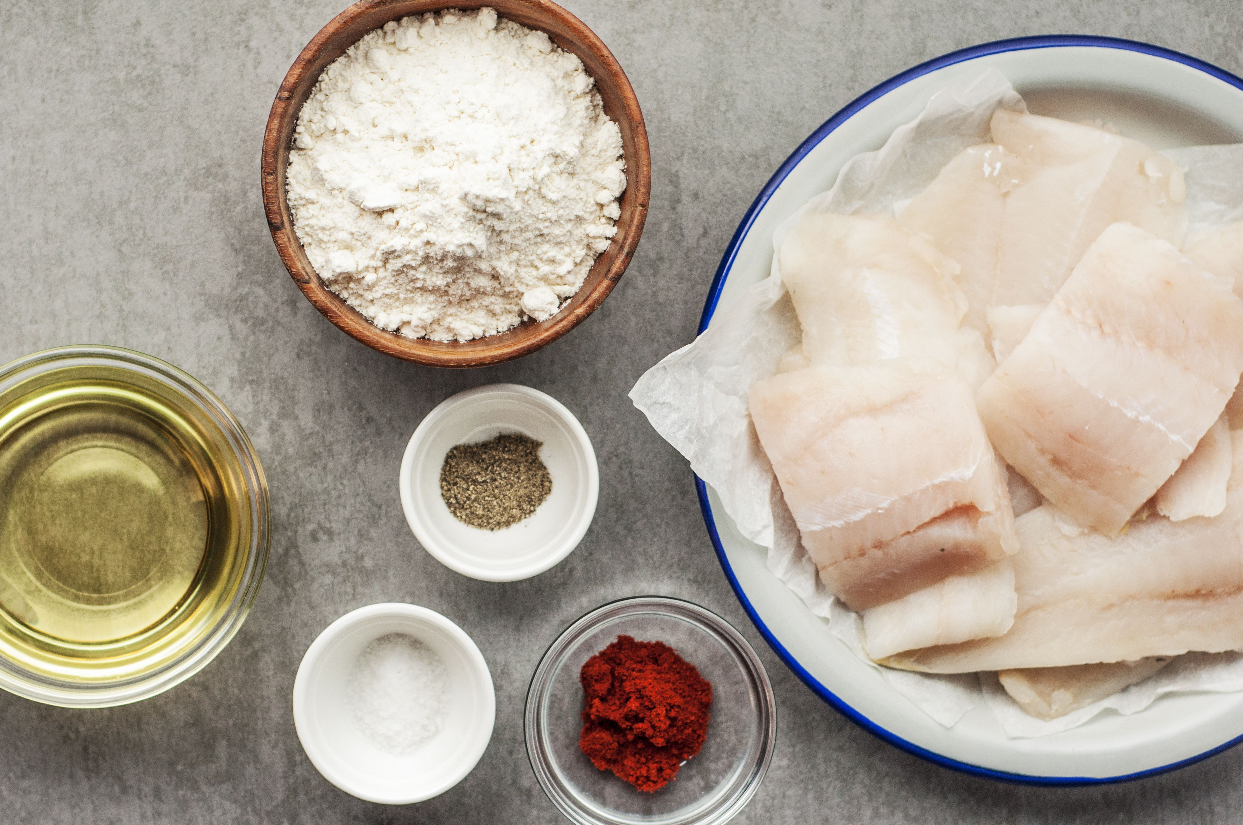Ingredients set out for making the fried fish fillets
