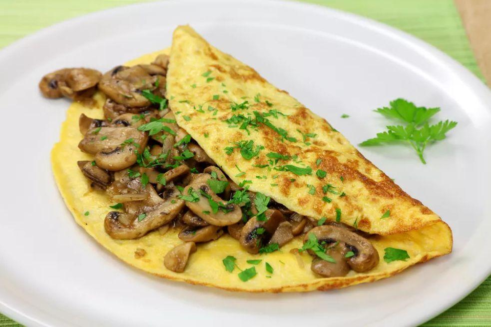 Vegetarian Mushroom and Leek Omelette