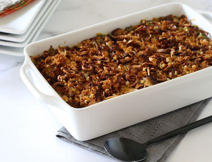 Instant Pot green bean casserole in a baking dish