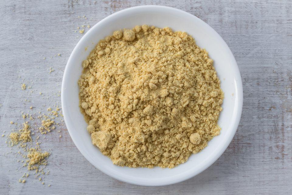 Bowl of ground mustard