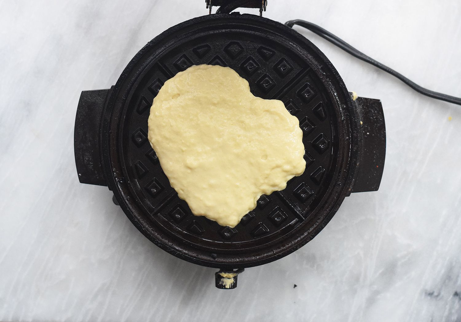 Put some of the batter in your waffle iron
