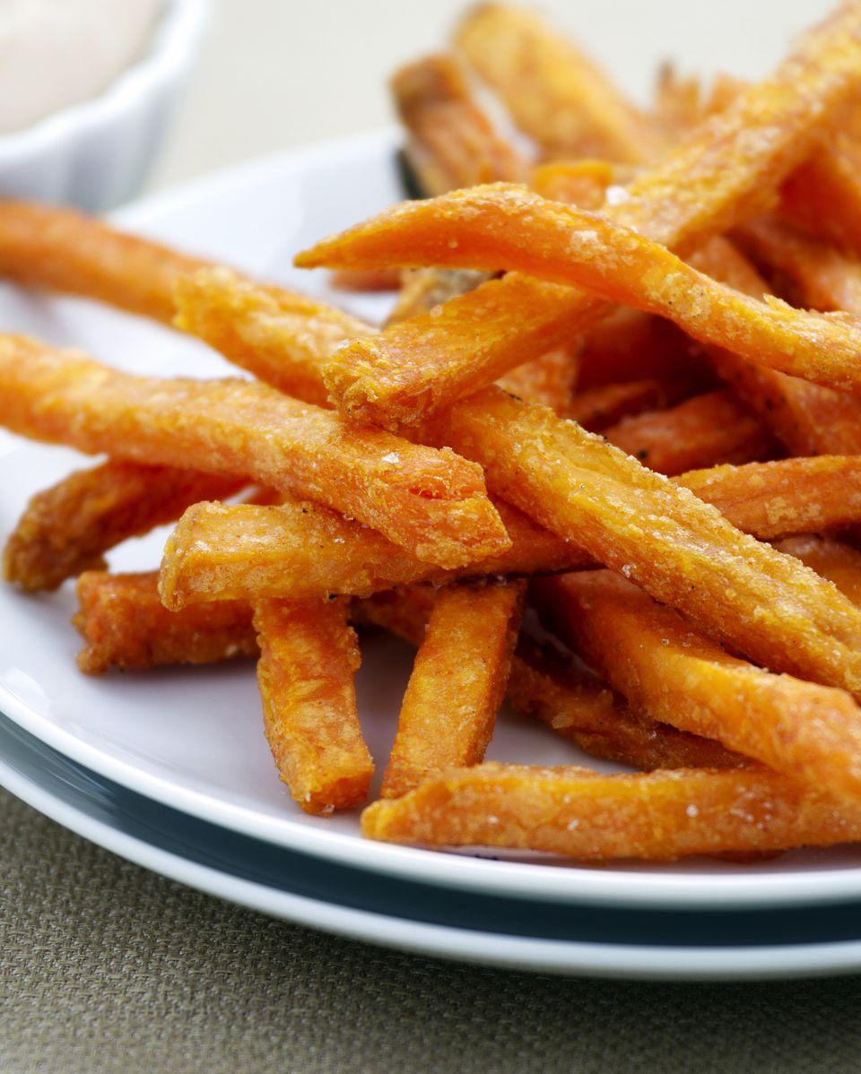 Healthy baked sweet potato fries - yum!
