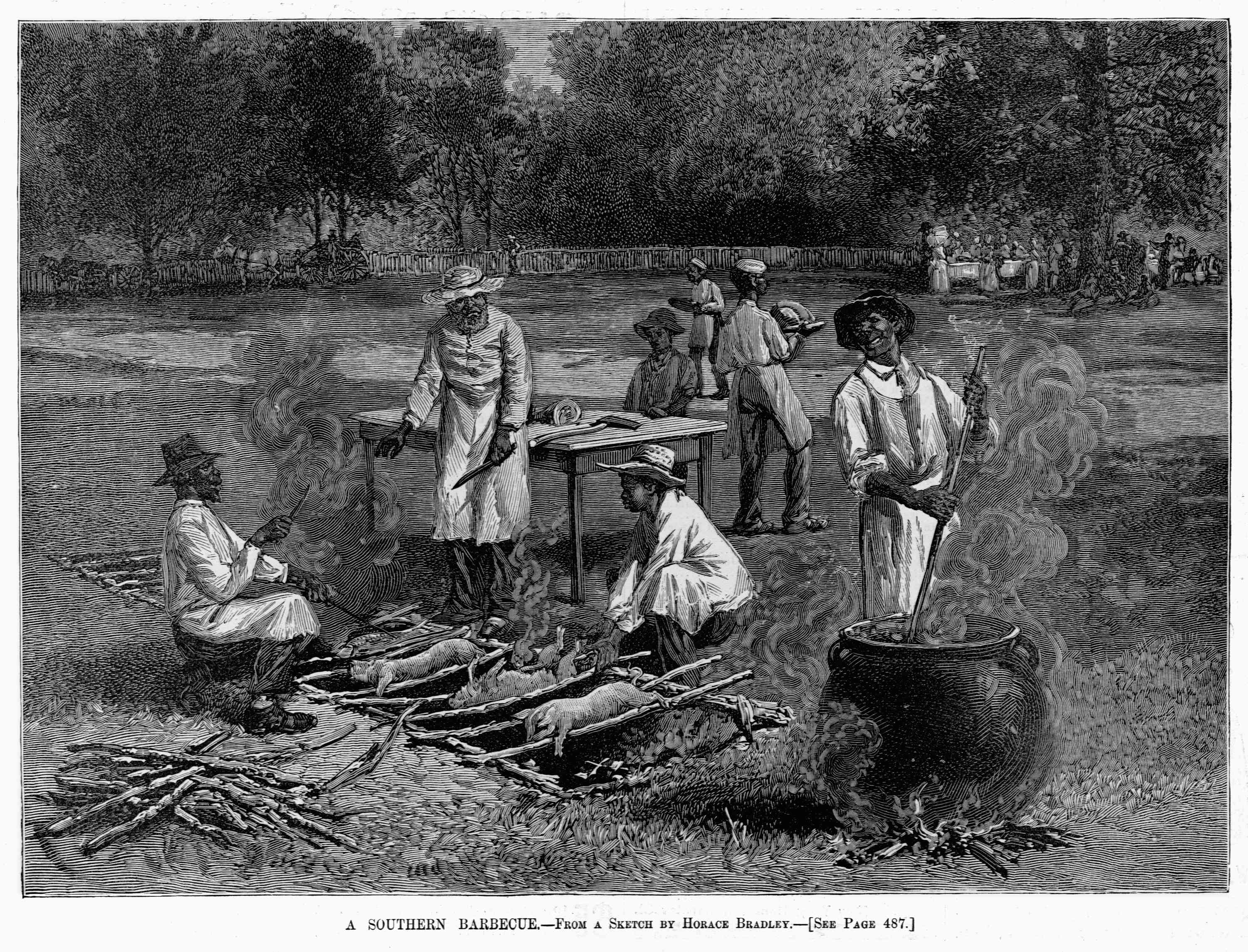 Southern barbecue engraving