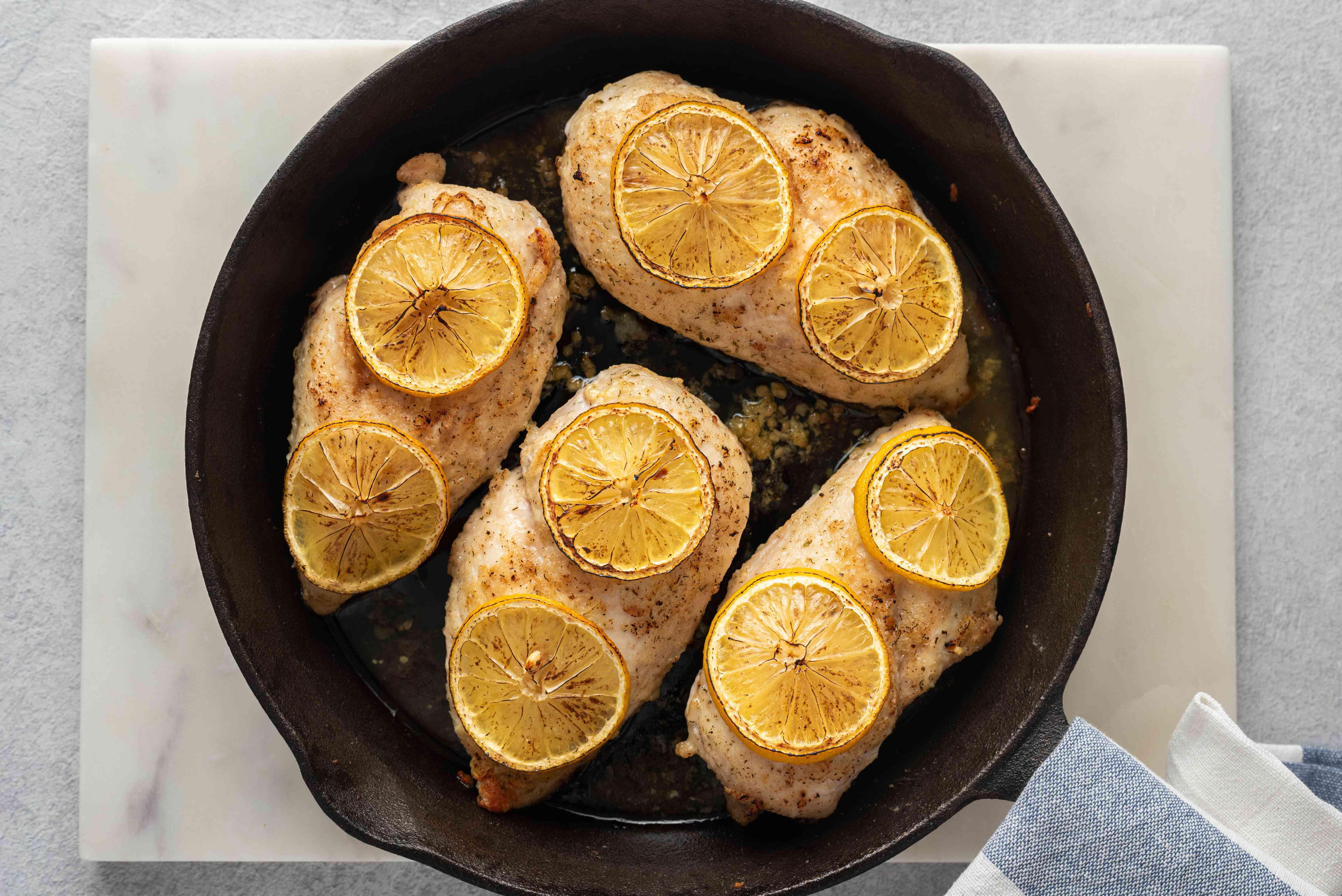 Lemon Pepper Chicken in a pan