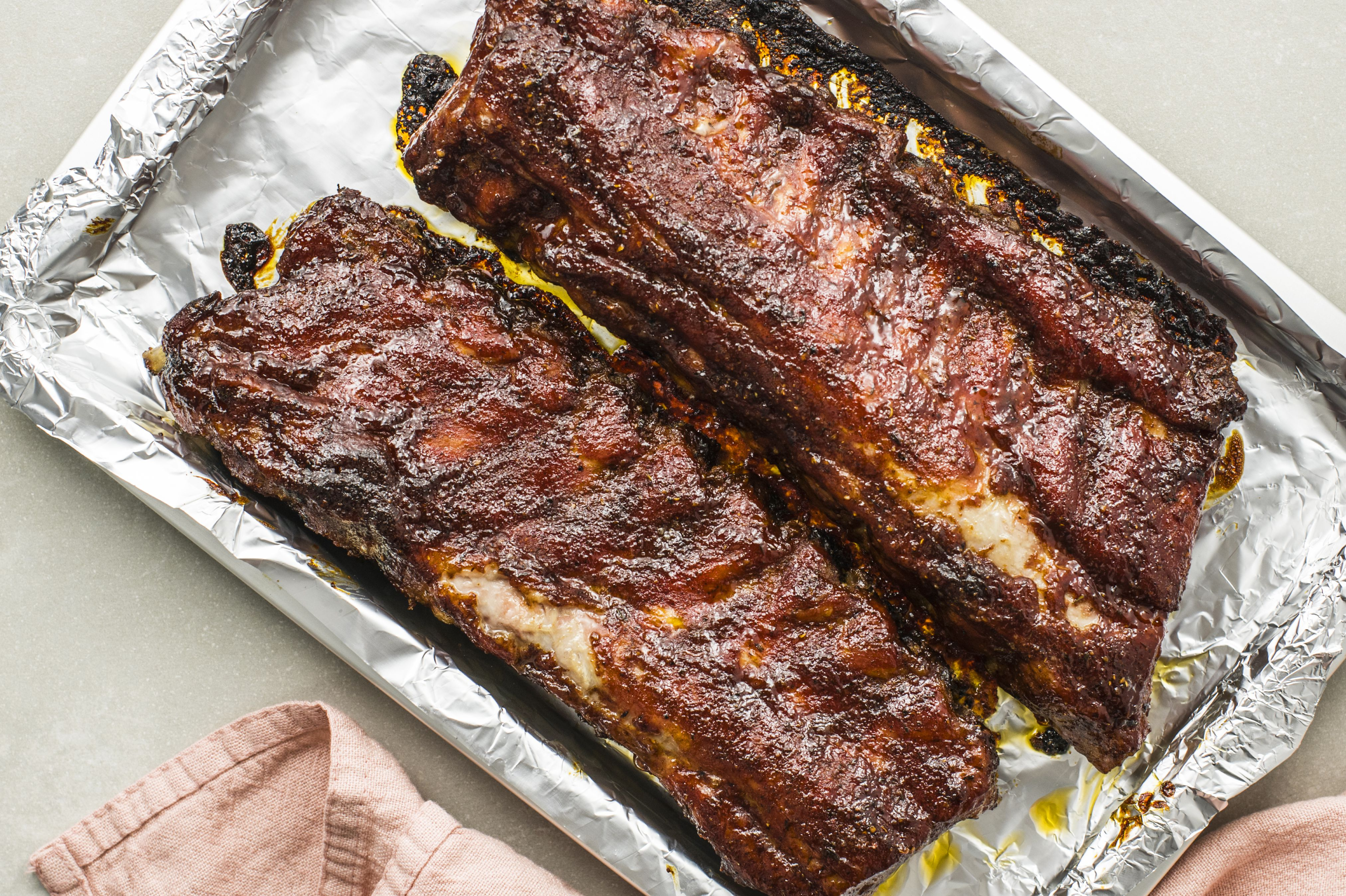 Baked ribs on a baking sheet