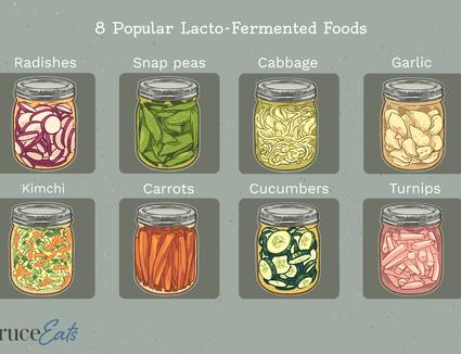 Jars of popular laco-fermented foods