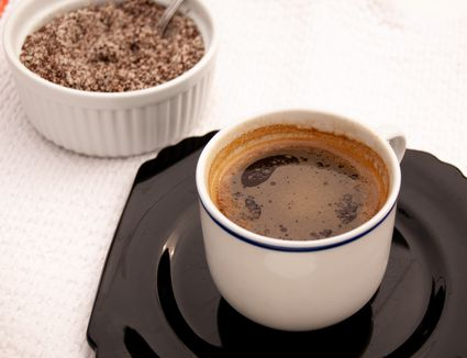 instant coffee mix and a cup of coffee