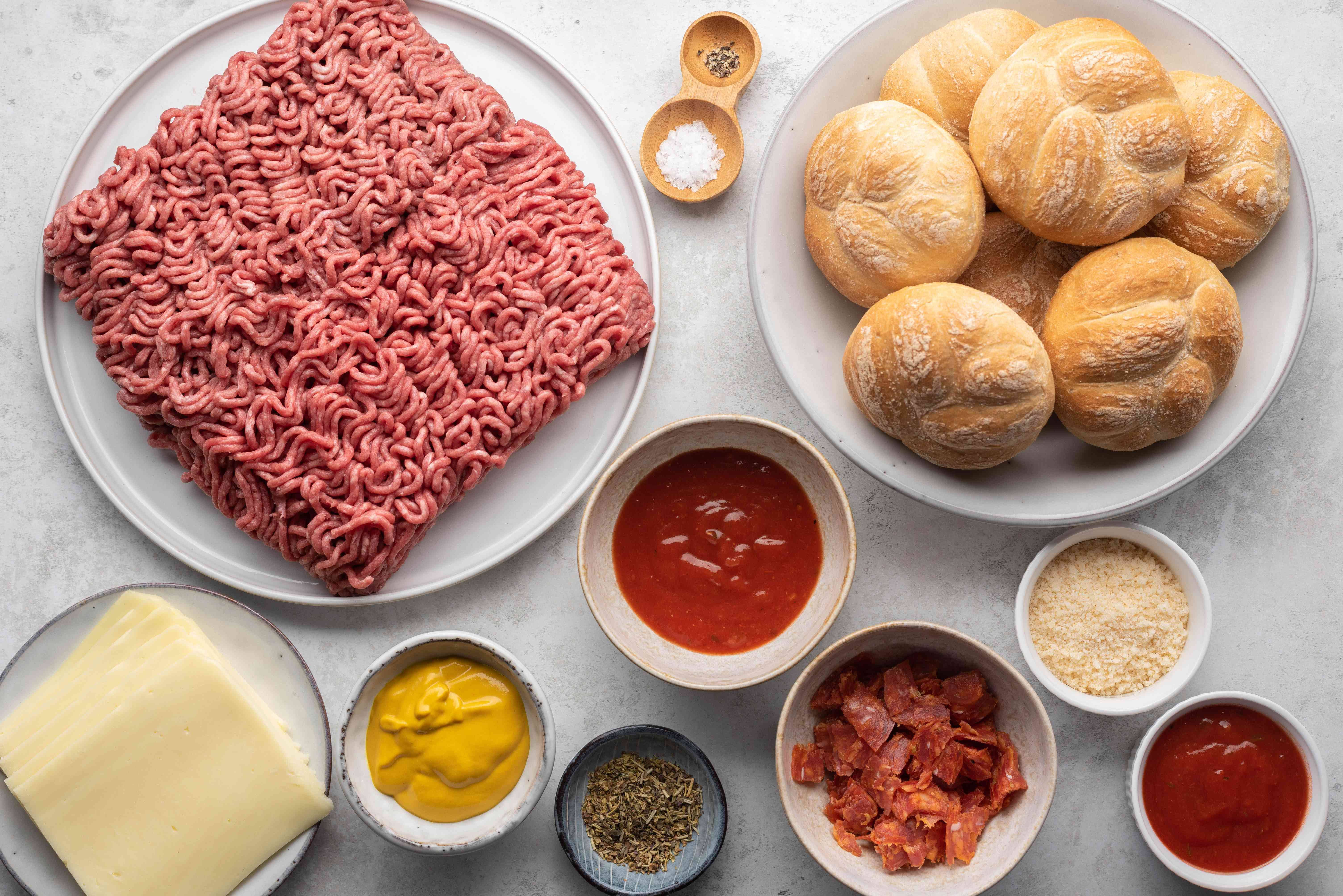Ingredients for stuffed pizza burgers