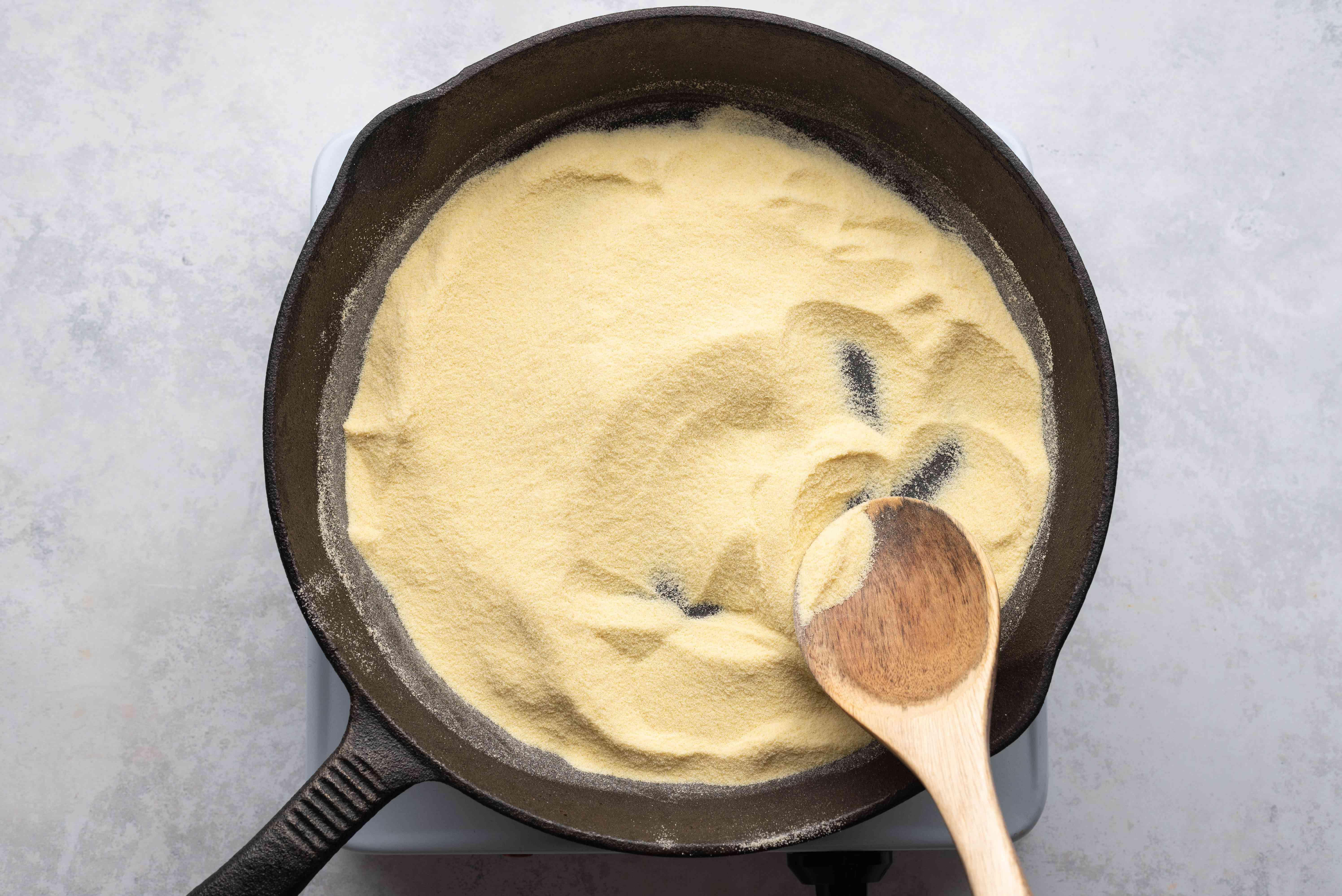 Toast semolina in a skillet