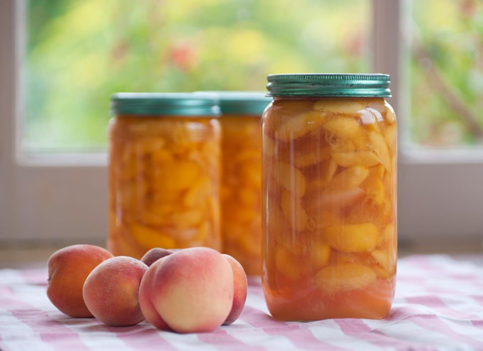 Preserved peaches in jars