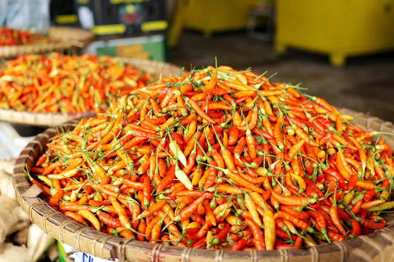 Bird's eye chile or Thai chile at Kota Kinabalu Market