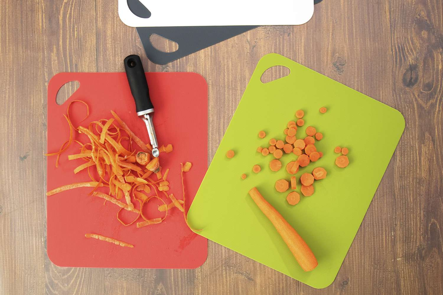STGA Flexible Board Grade Plastic Kitchen Cutting Mat with Food Icons Set of 4,