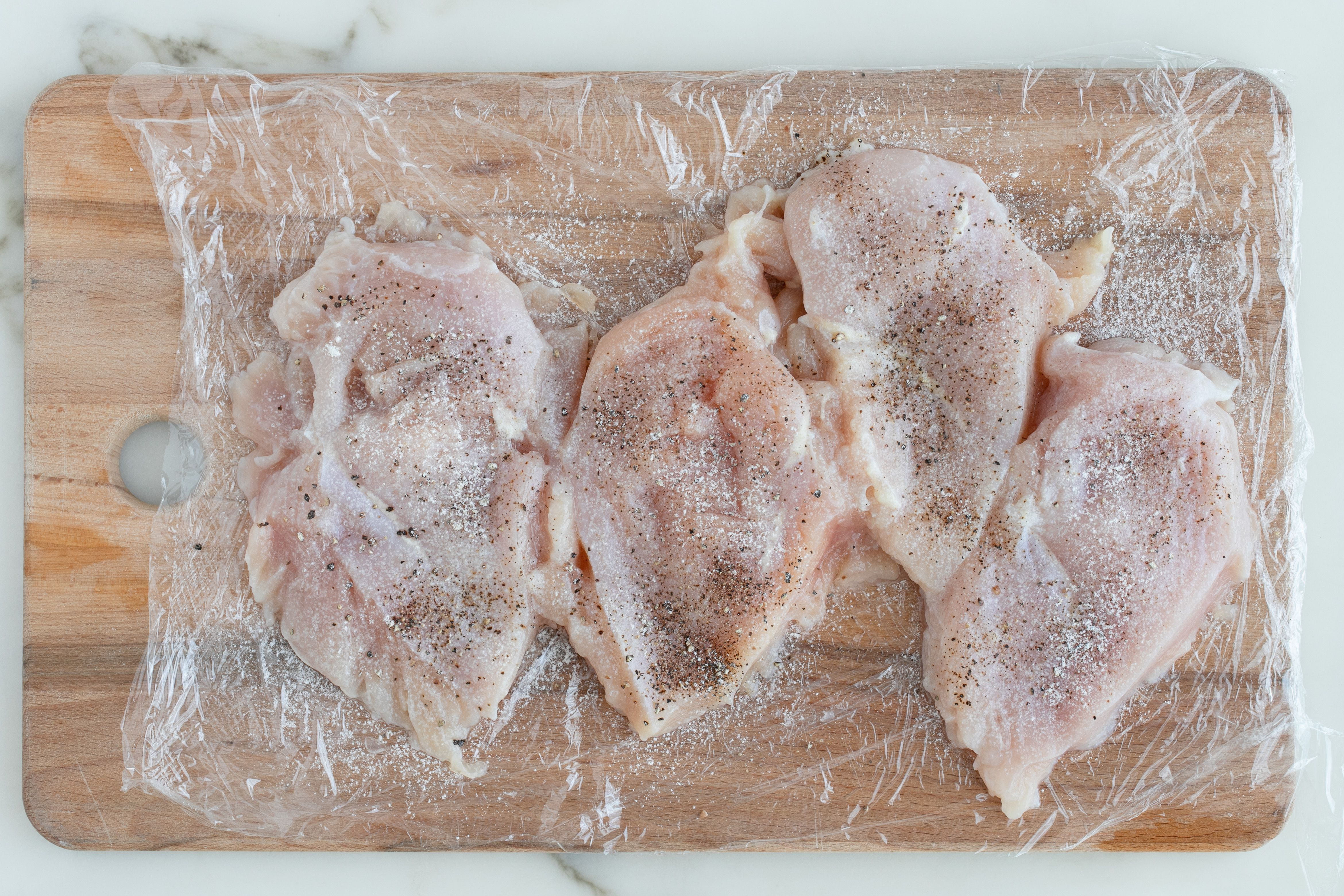 Chicken dusted with salt and pepper