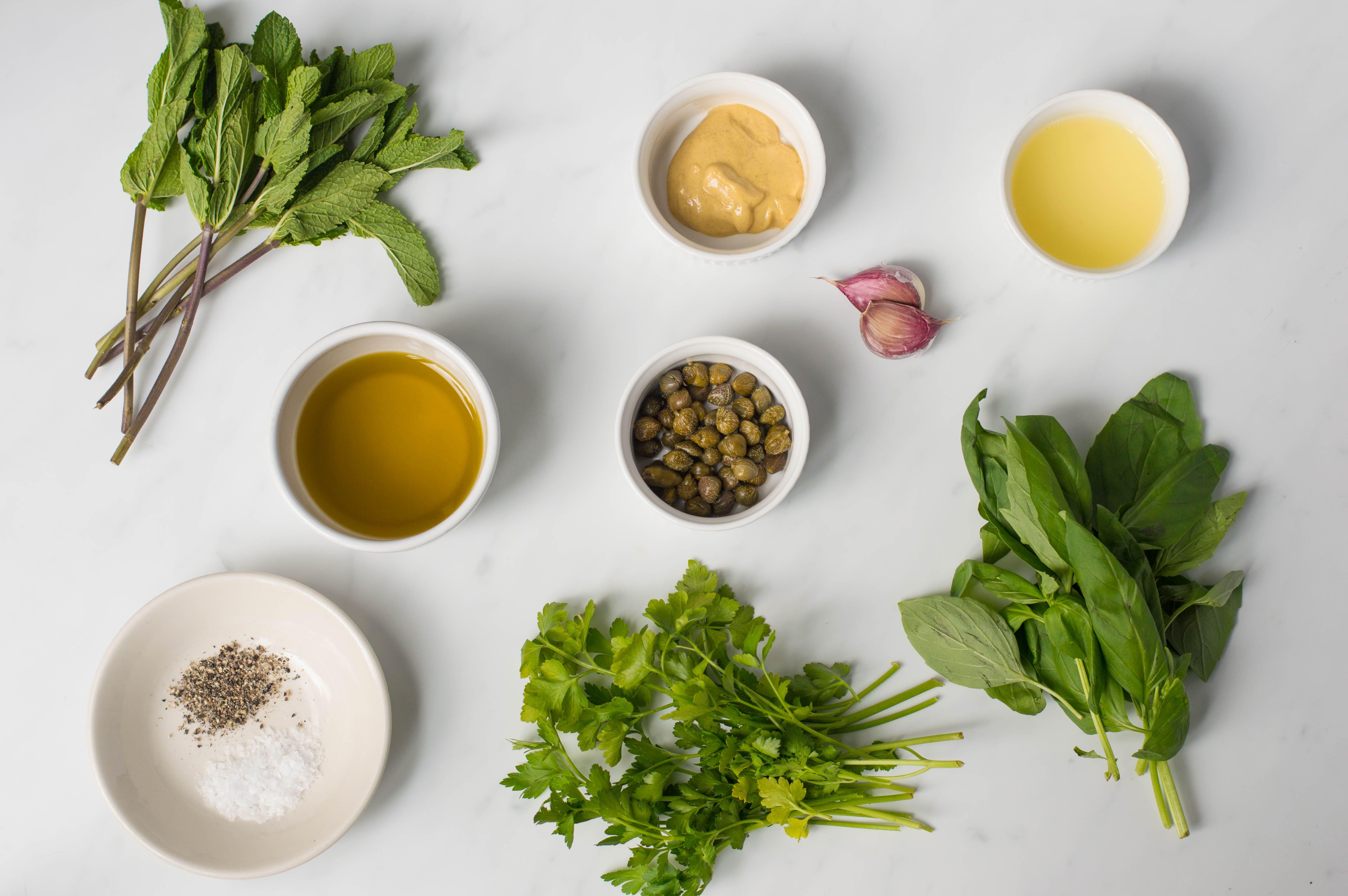 Ingredients for making salsa verde