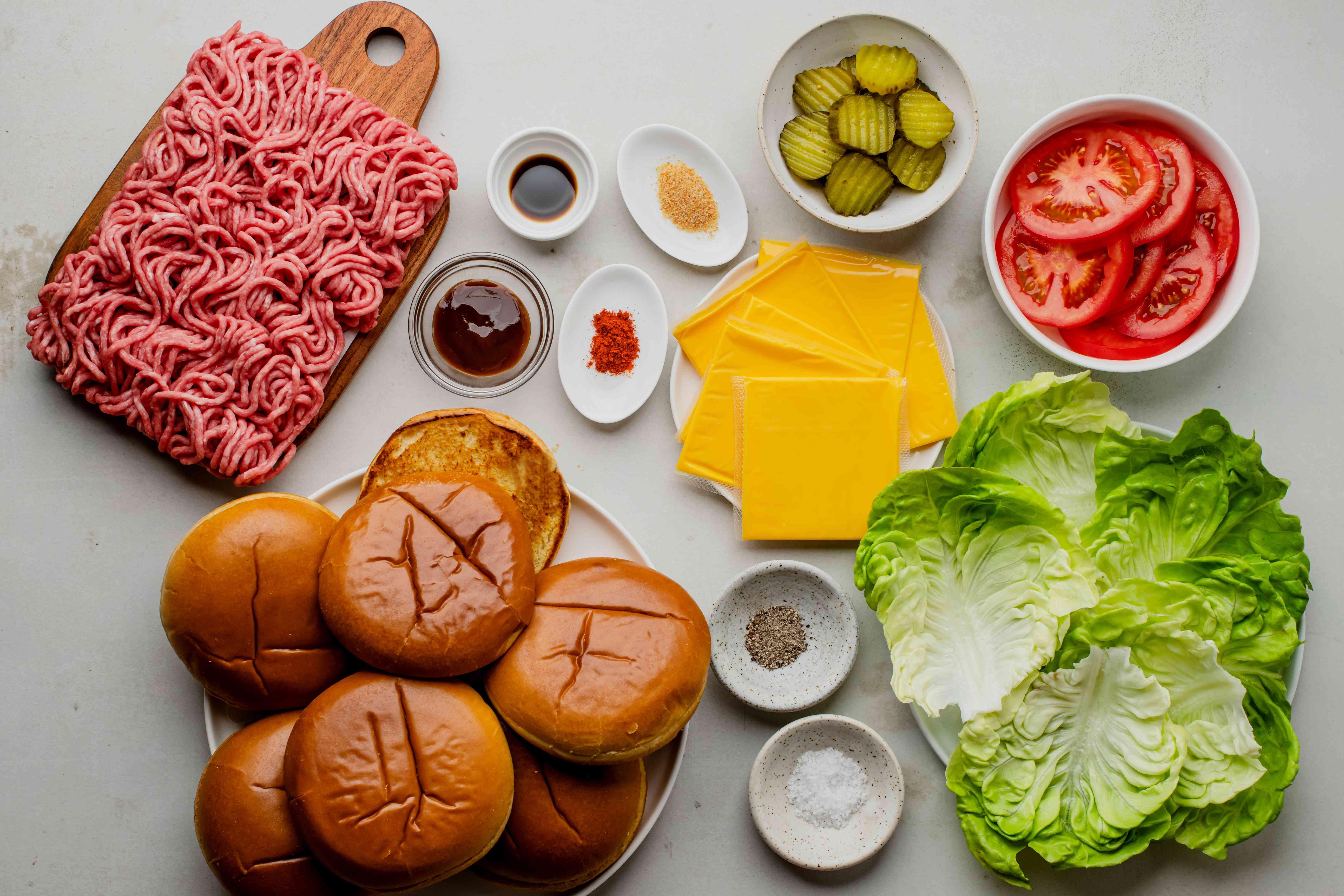 Ingredients for juicy baked burgers