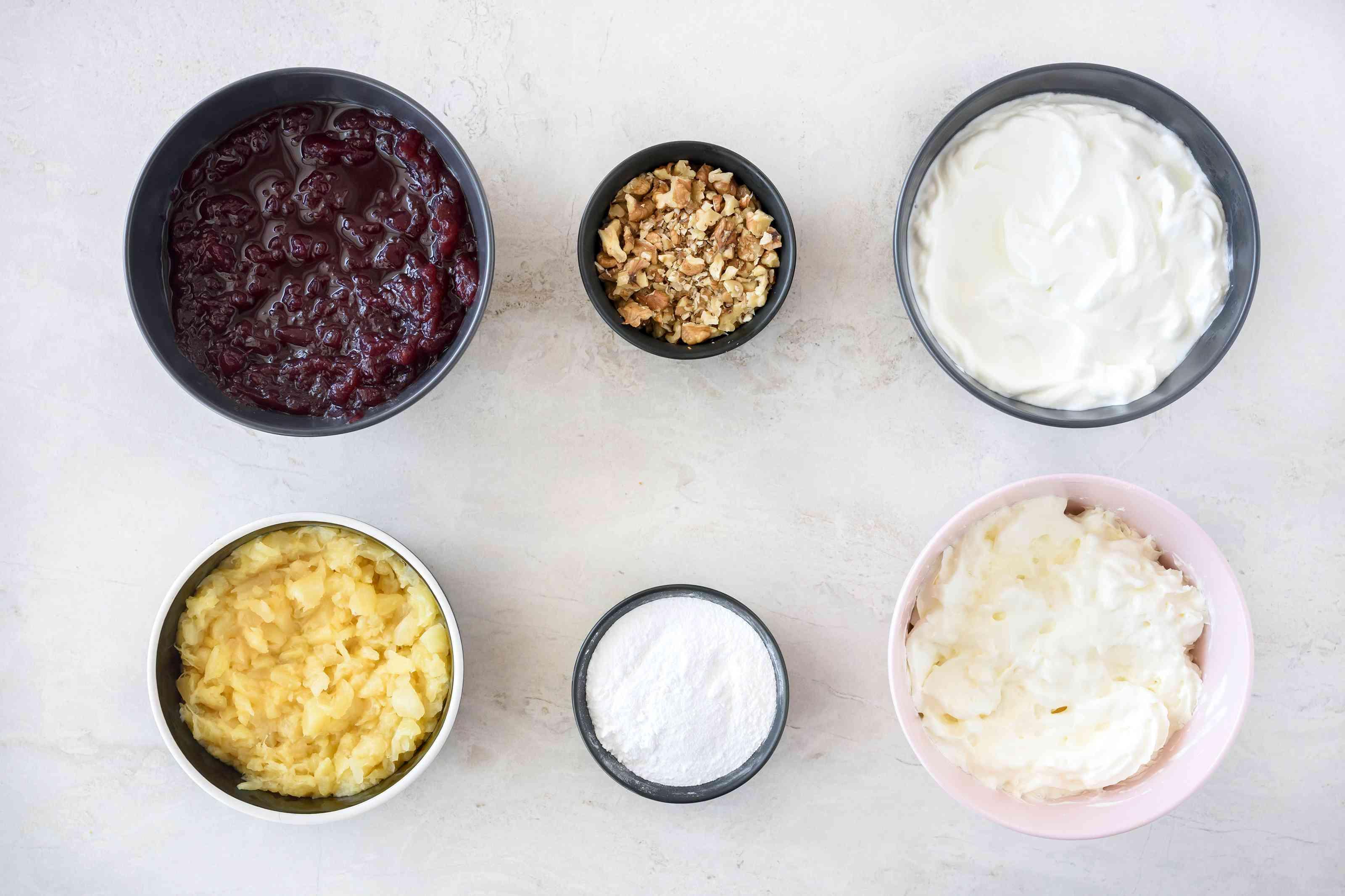 Ingredients for frozen pineapple cranberry salad