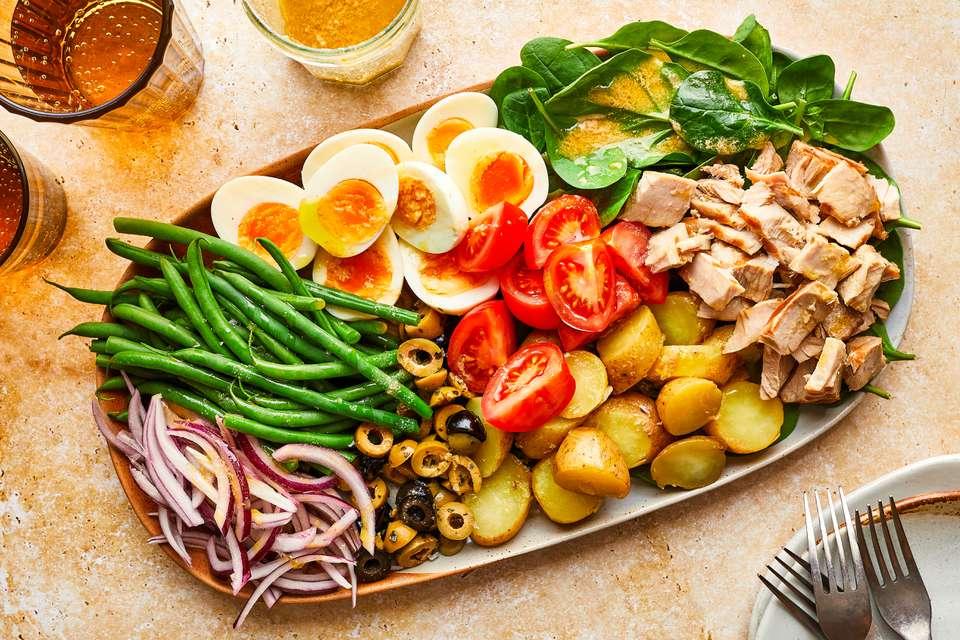 Salad Nicoise on a platter