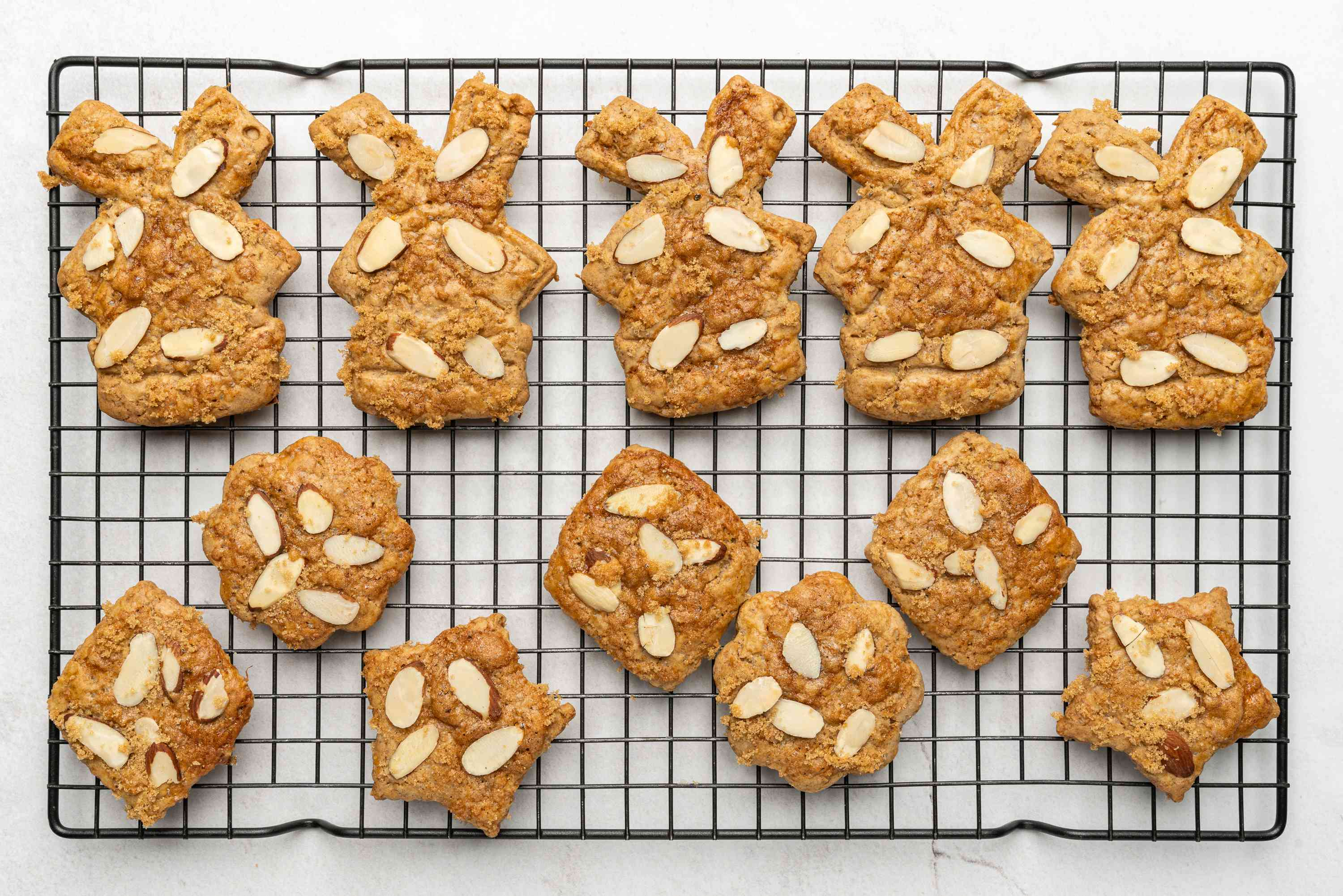 Dutch Speculaas (Windmill) Cookies on a cooling rack