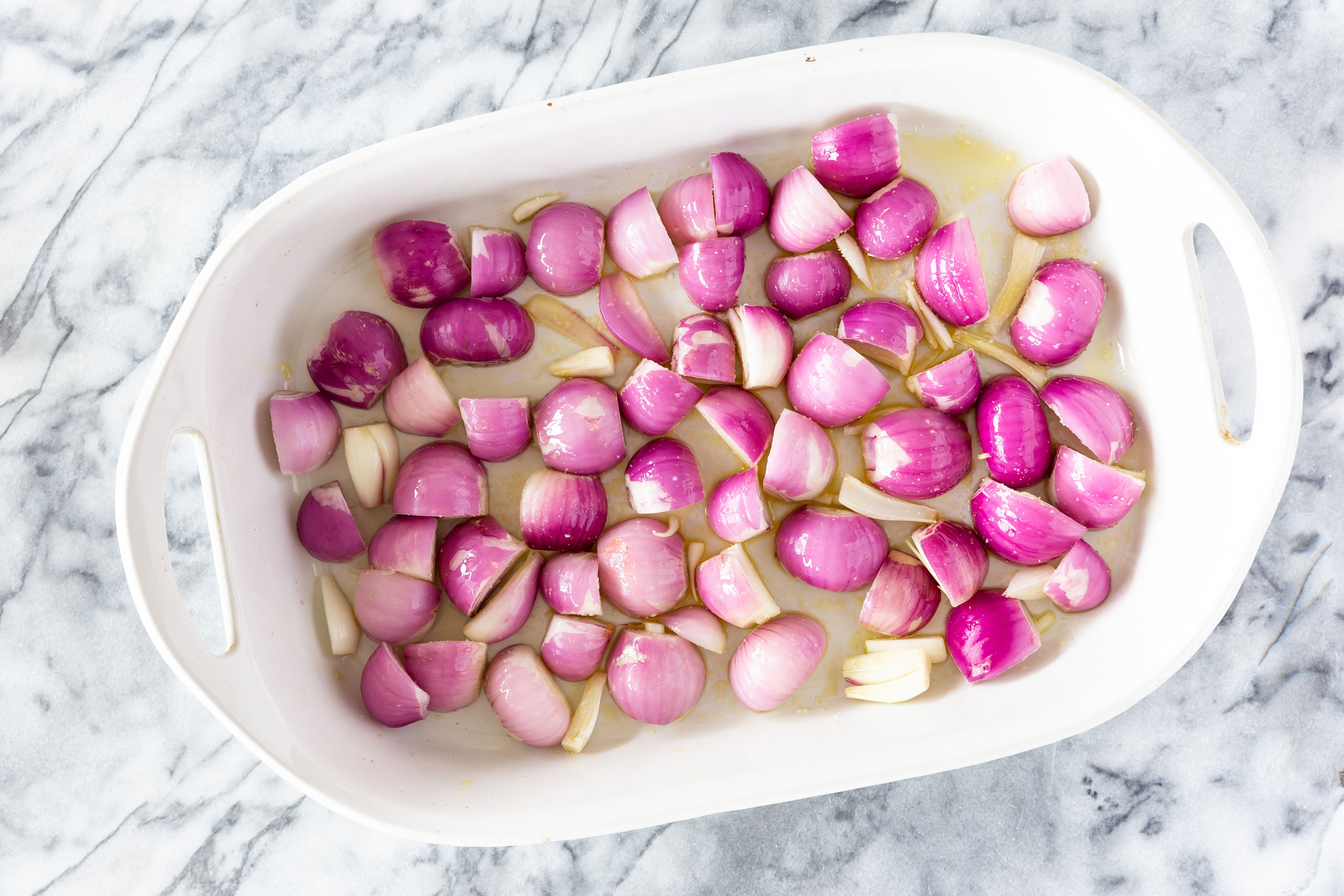 Onions in a baking dish