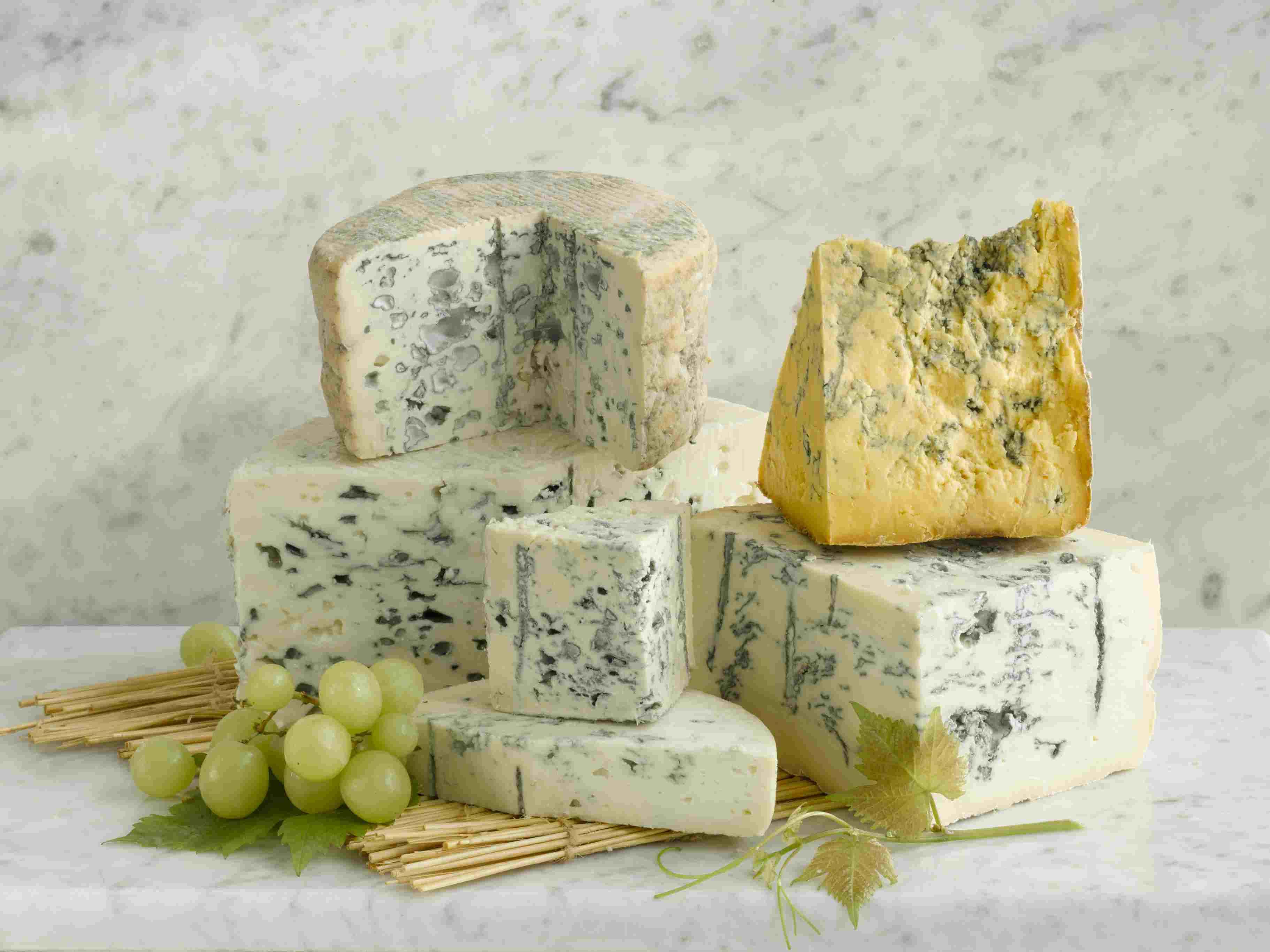 Stilton blue cheese and Shropshire blue cheese