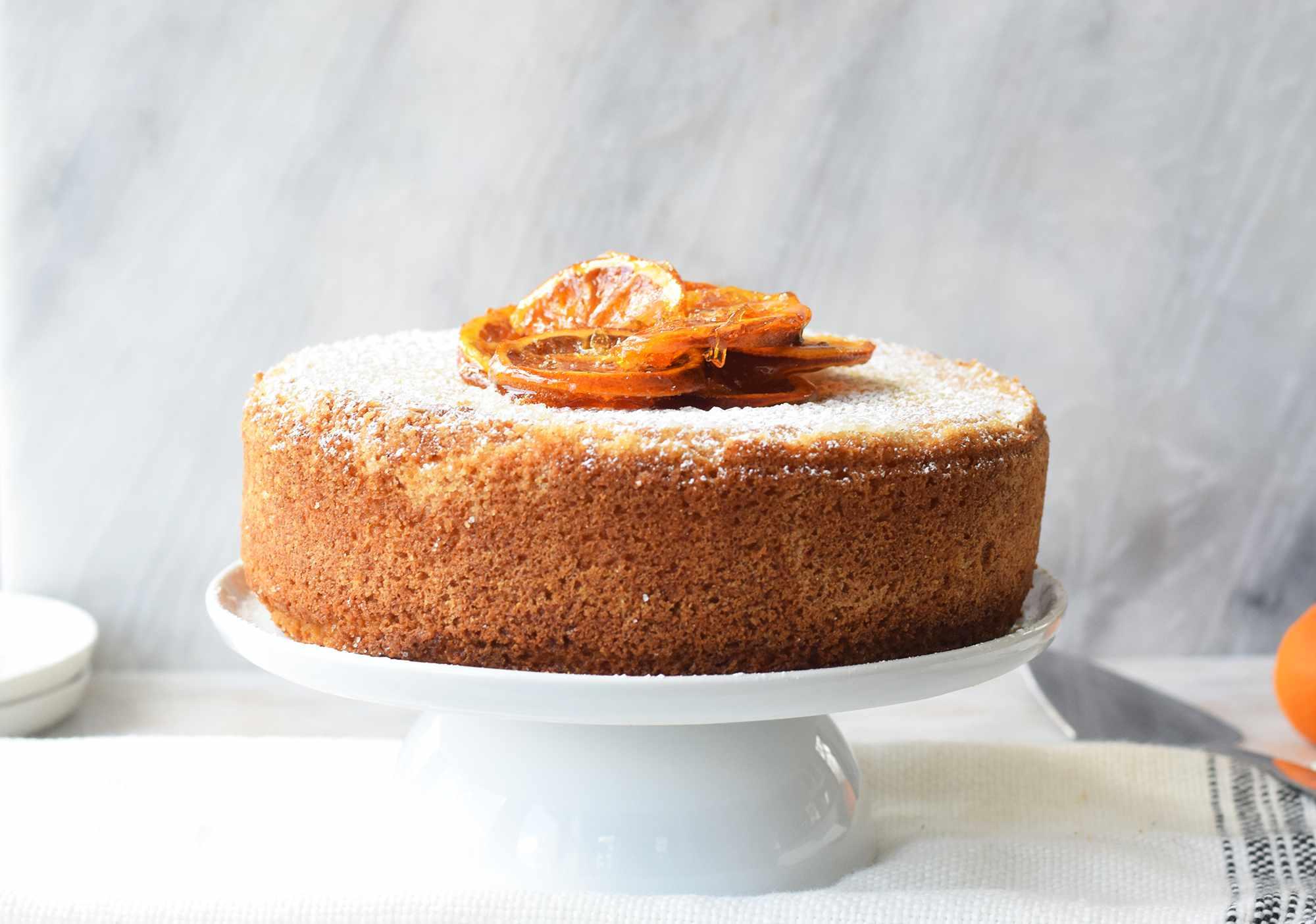 olive oil cake on a platter