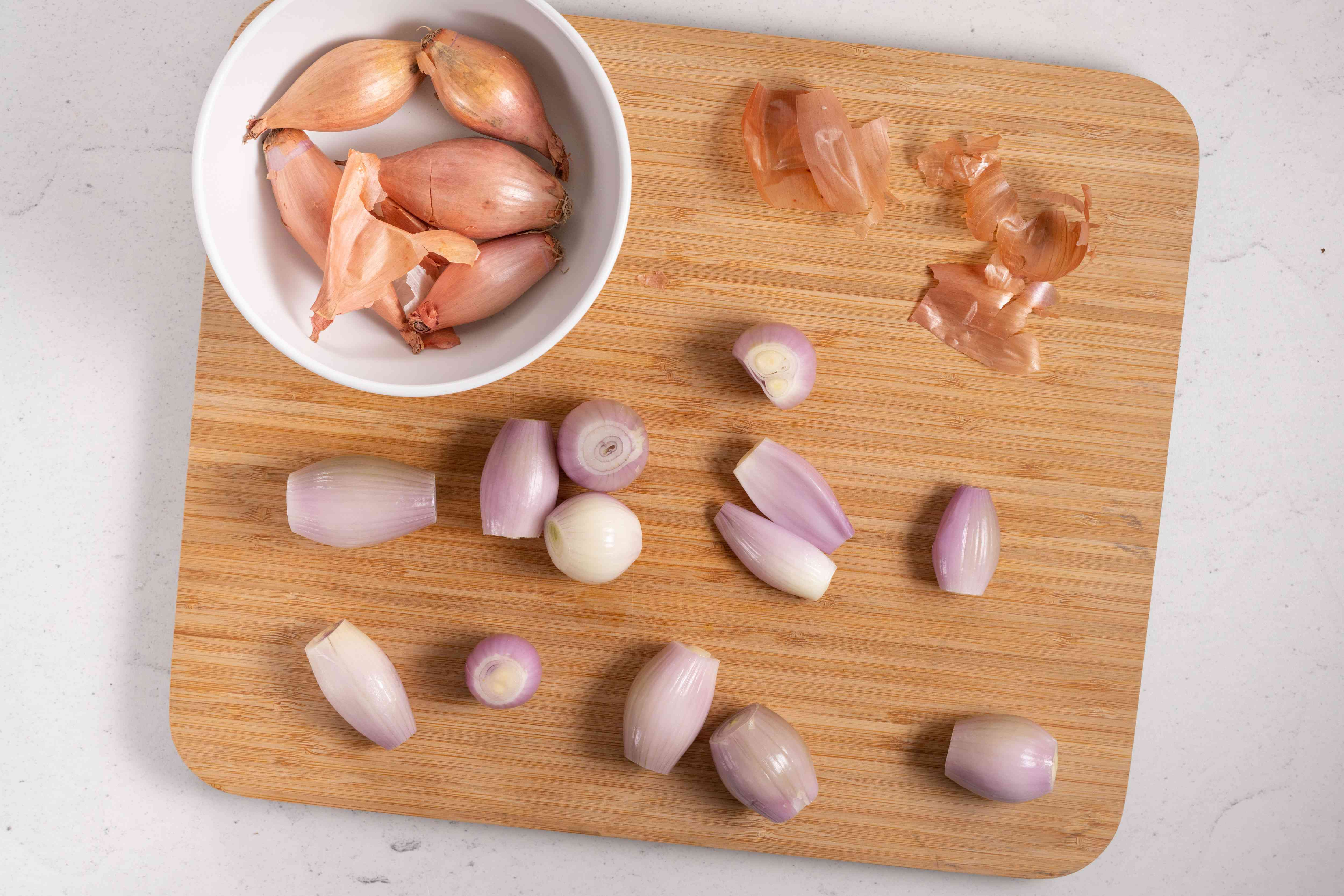 Shallots, peeled with the ends trimmed off
