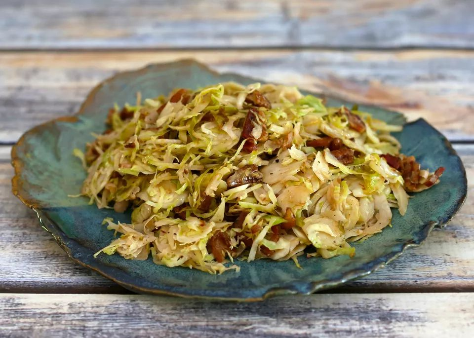 Quick shredded Brussels sprouts with bacon