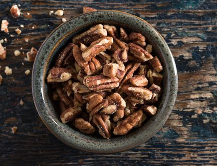 High angle view of pecans on table