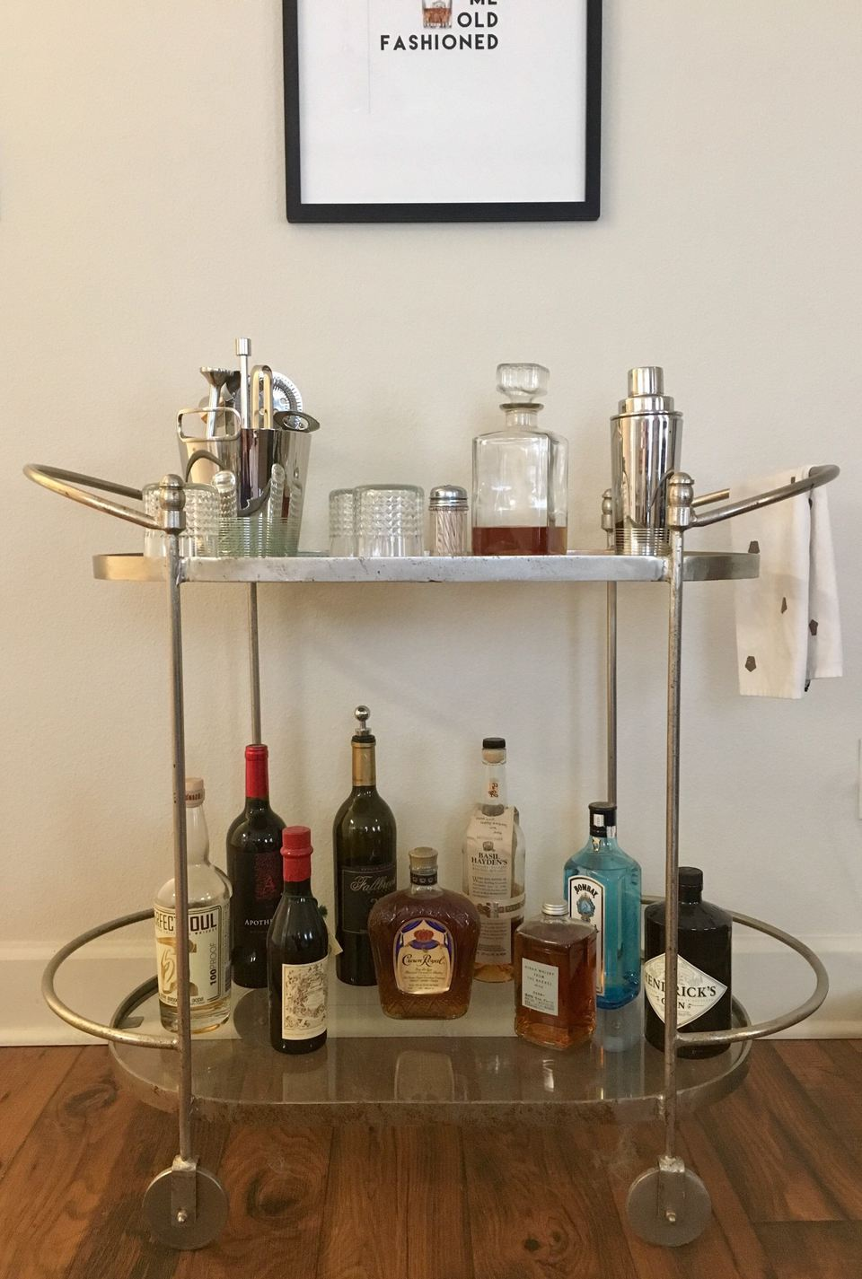 well-stocked bar cart