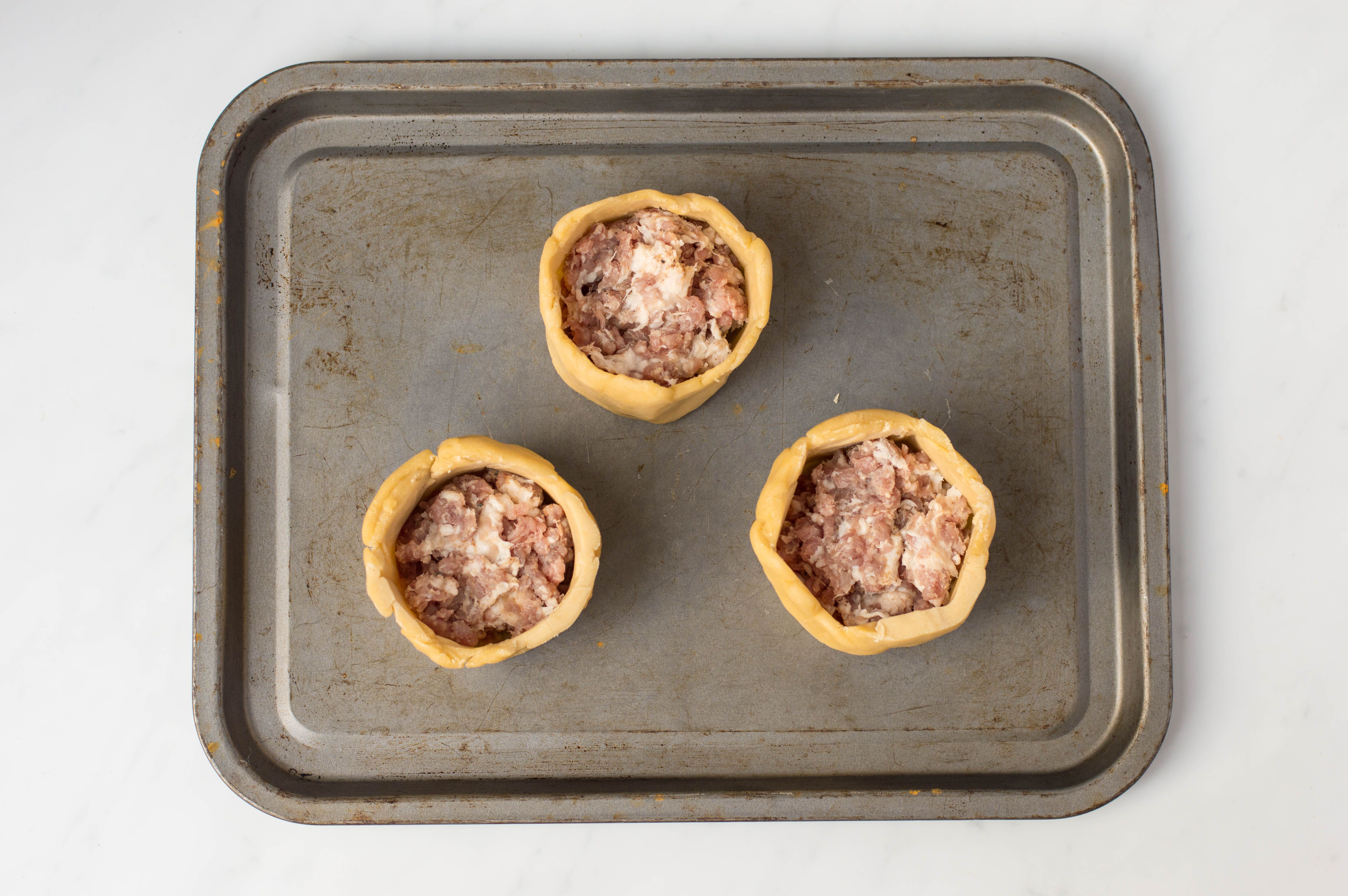 Pastry cases packed with meat
