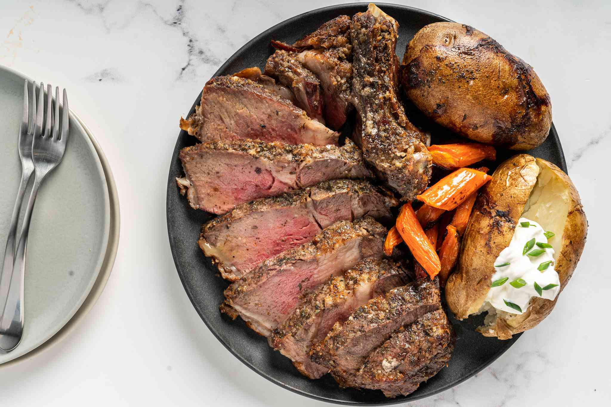 Prime Rib for Two on a plate