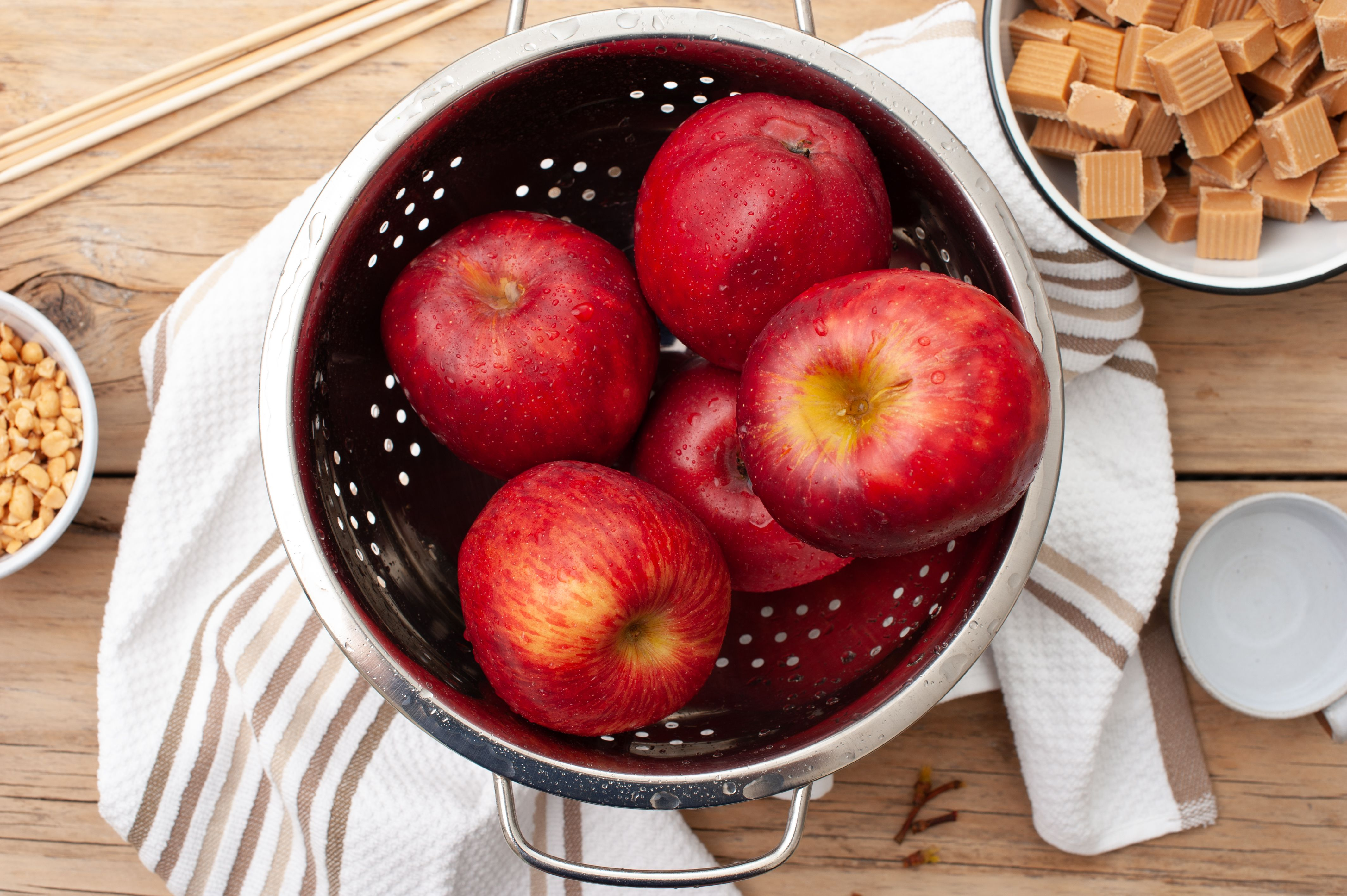 Begin by washing apples