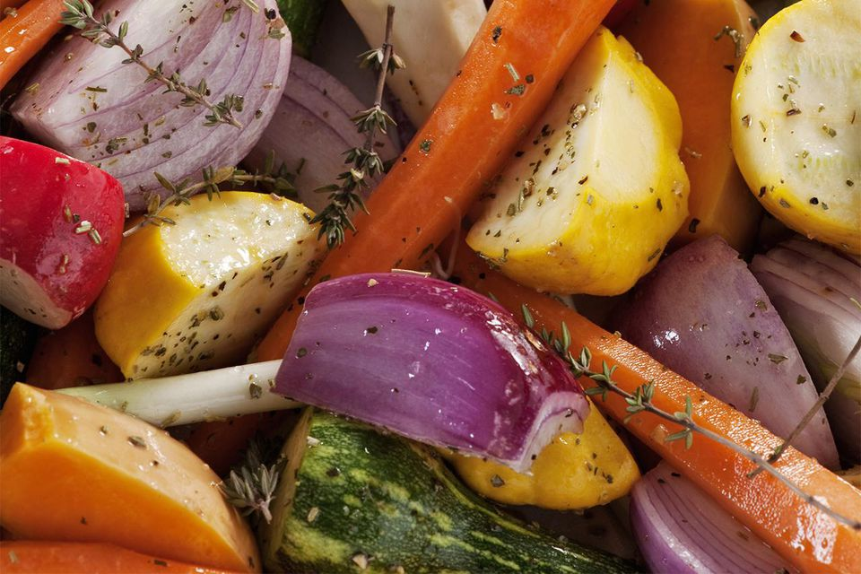 Fresh vegetables ready for roasting.