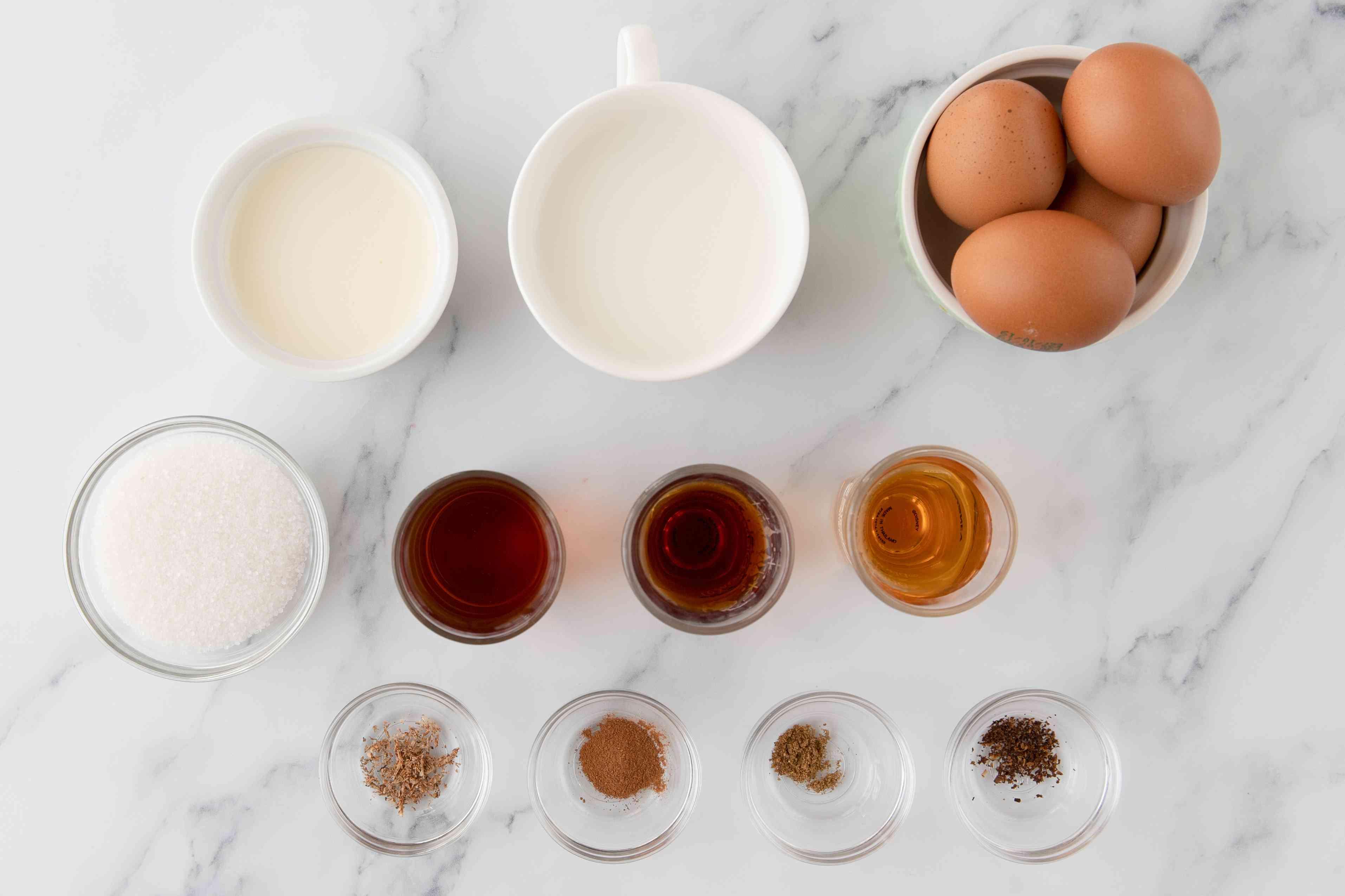 Ingredients for bourbon eggnog